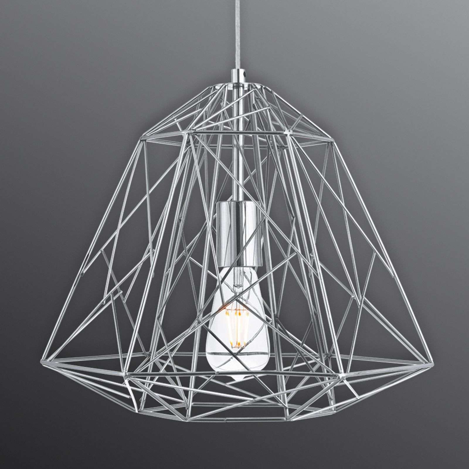 Suspension Geometric Cage futuriste chromée