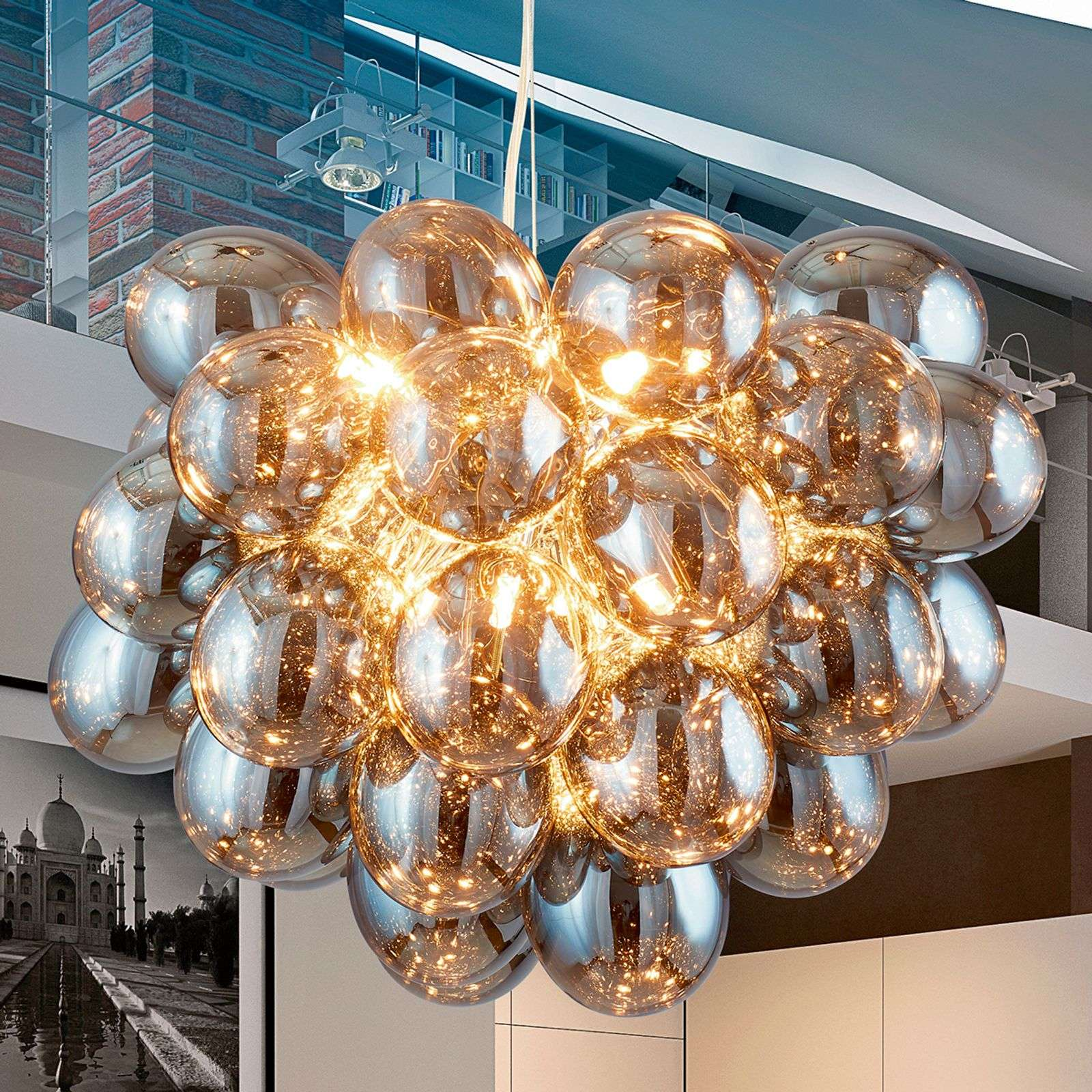 Brillante suspension en verre gris Grape