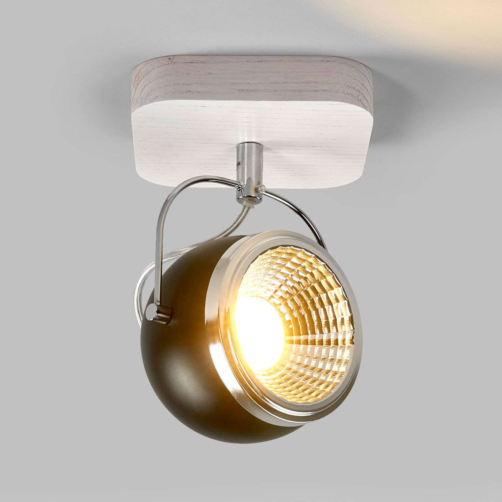 Chêne blanc - plafonnier LED Ball Wood 1 lampe