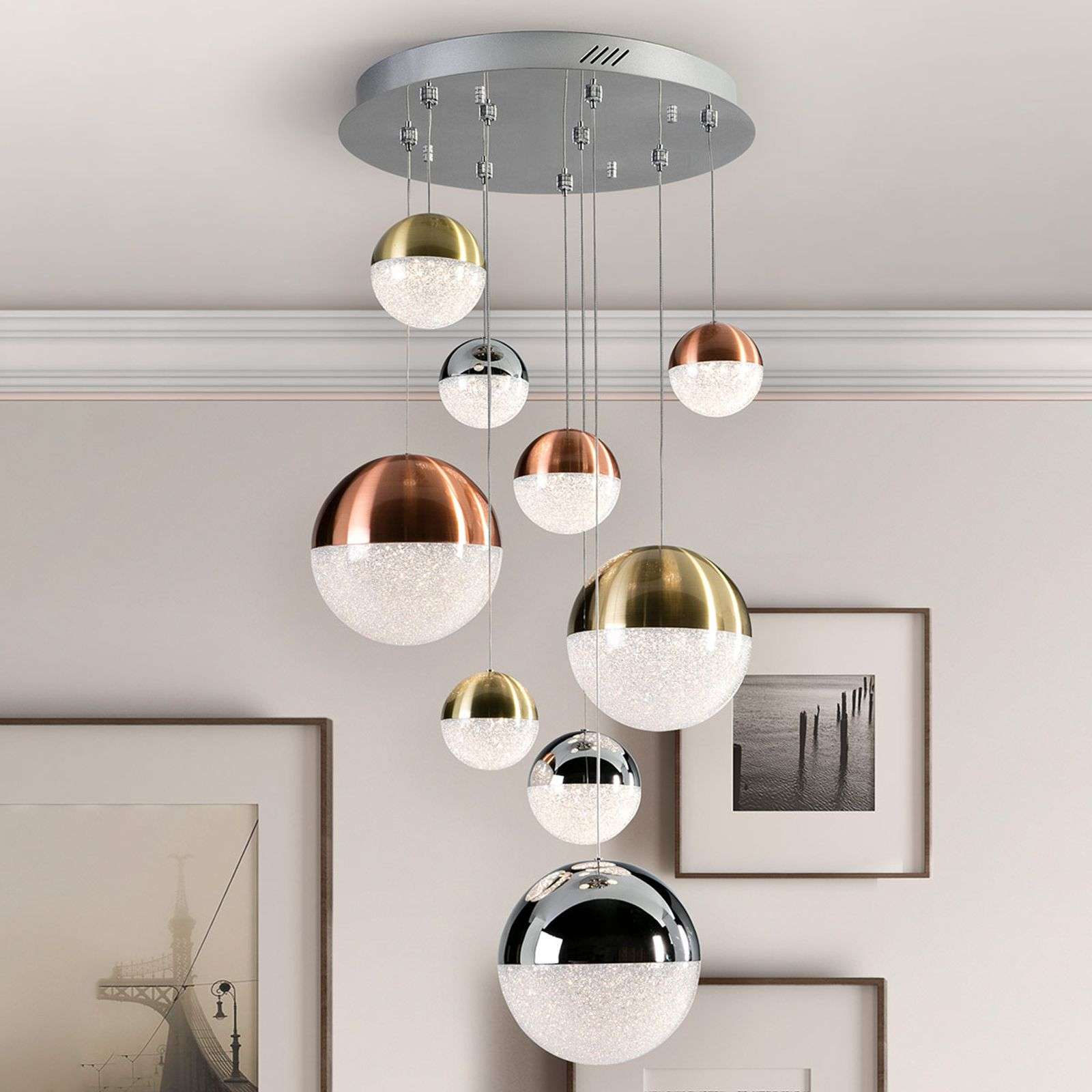 Suspension LED Sphere, multicolore, à 9 lampes