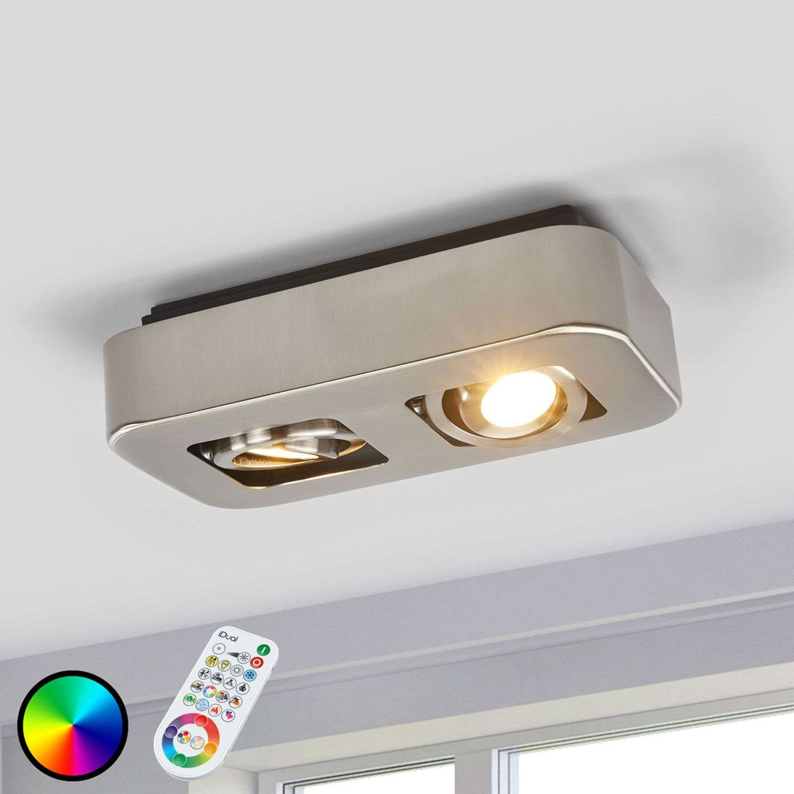 Plafonnier avec 2 spots LED IDual Krypton, nickel
