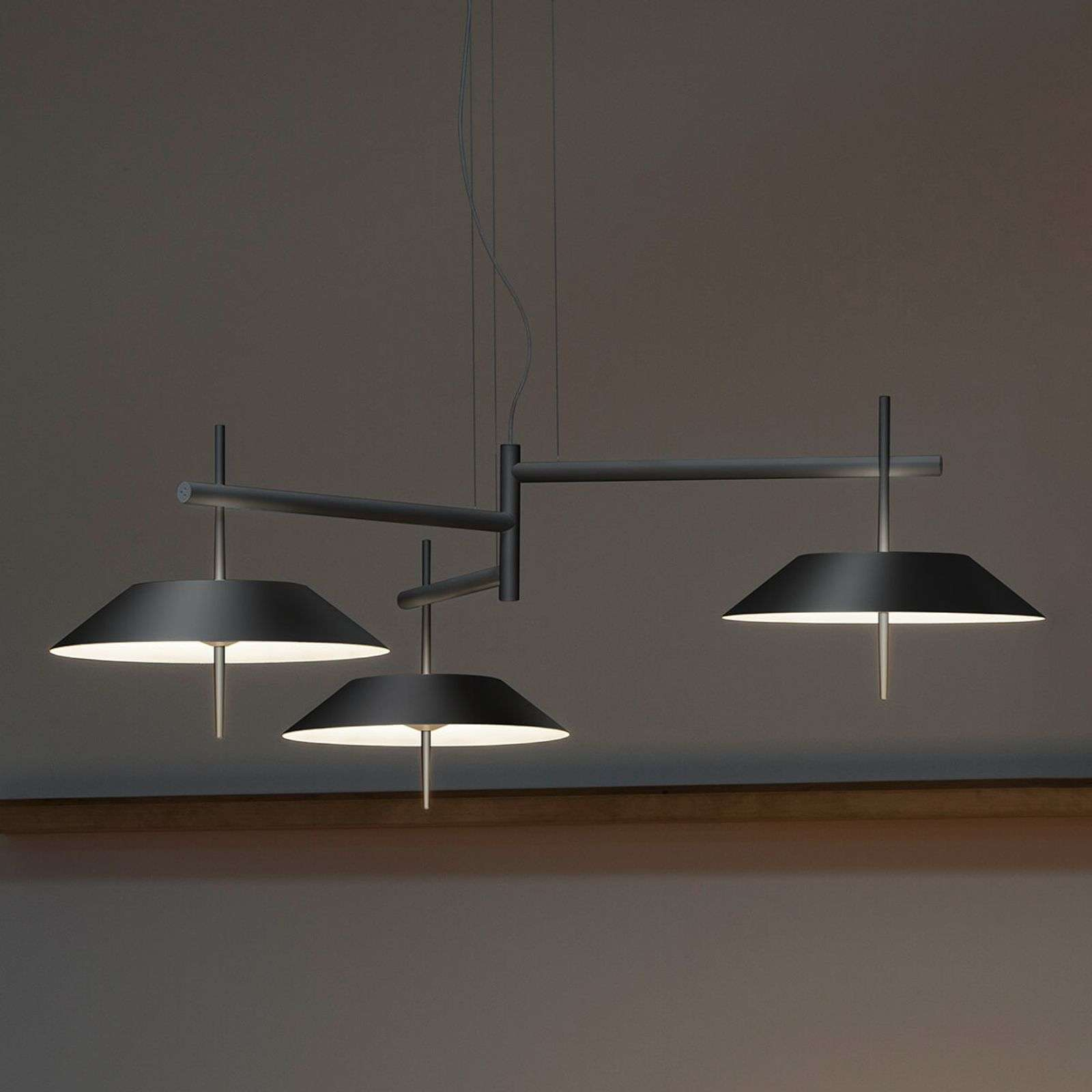Suspension LED Mayfair 3 lampes, gris graphite