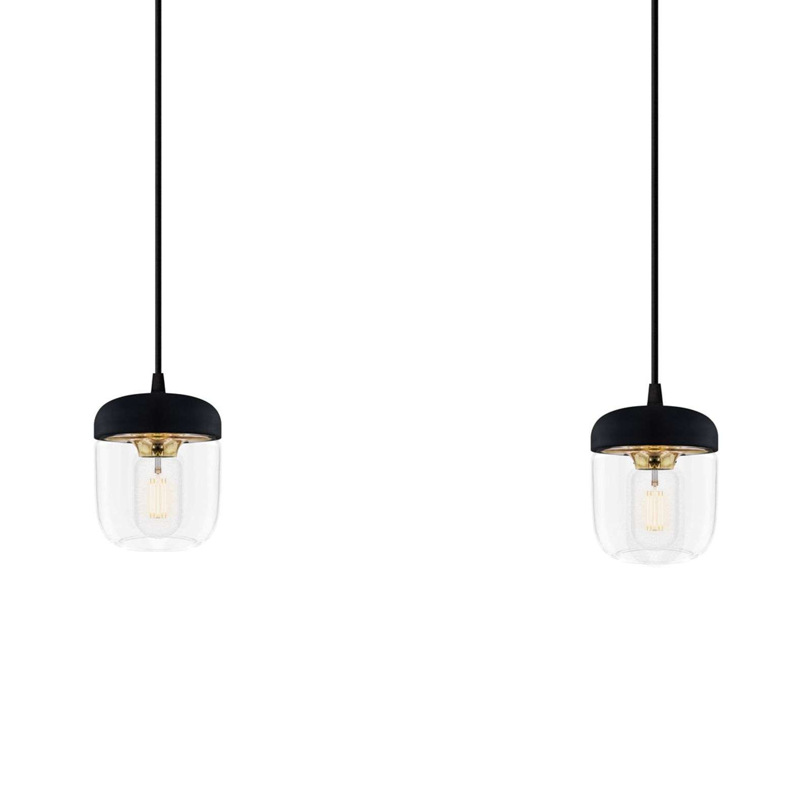 Suspension design Acorn en noir et laiton