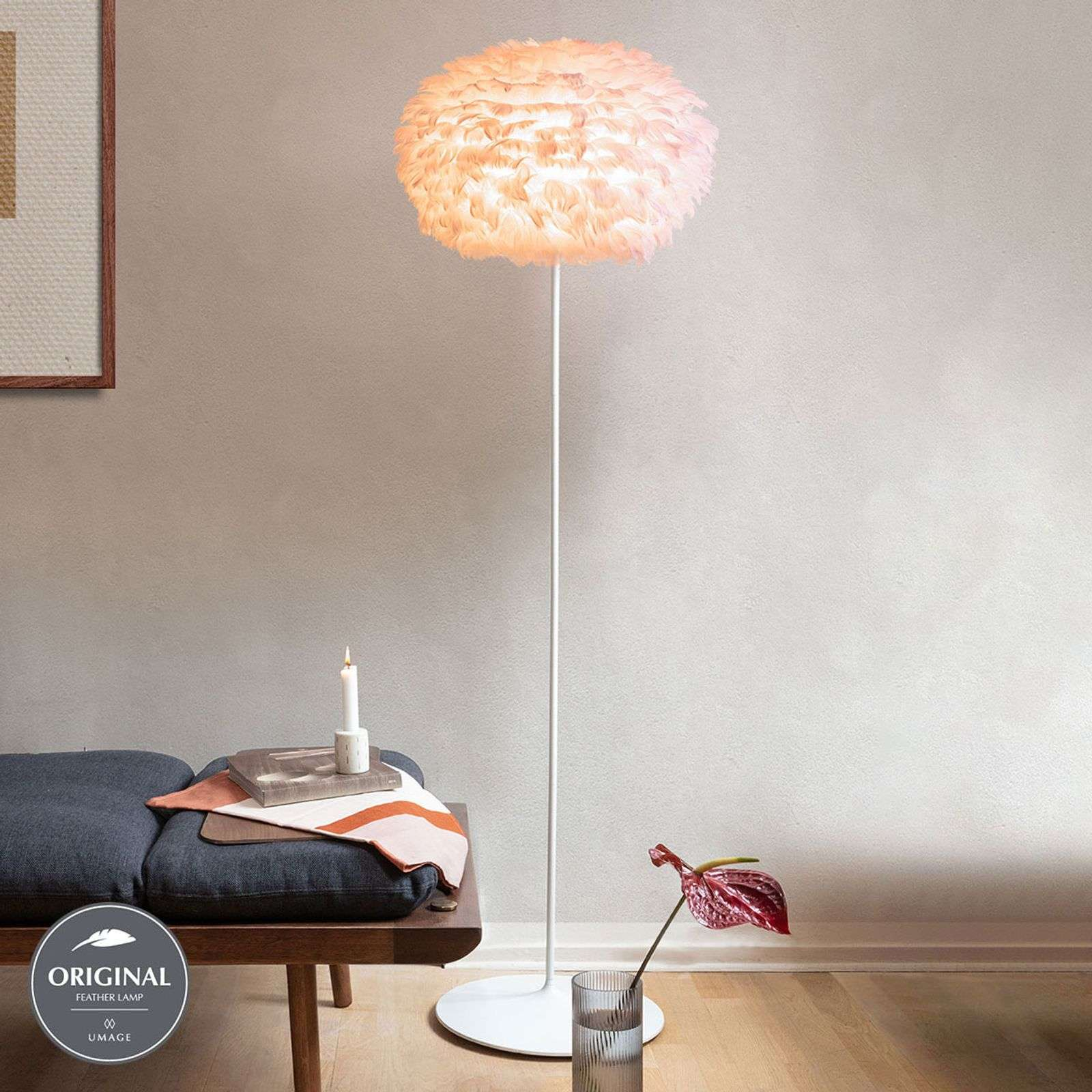 UMAGE Eos medium lampadaire rose support blanc