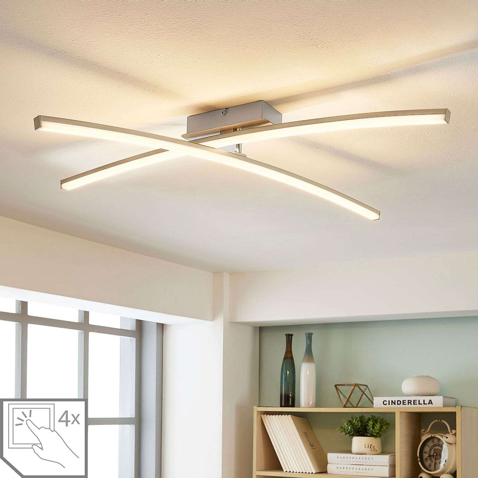 Laurenzia - Plafonnier LED chromé, dimmable
