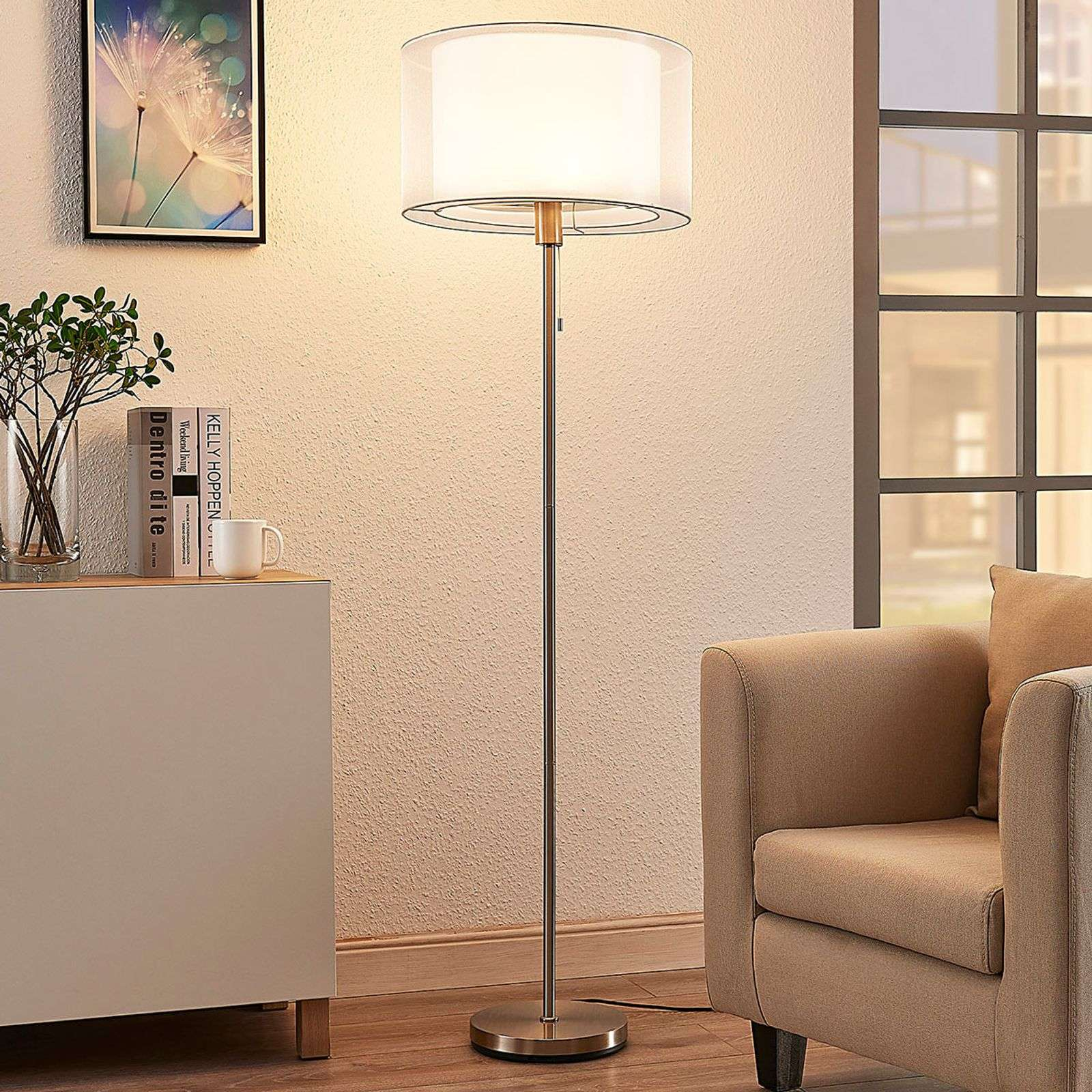 Lampadaire LED Amon abat-jour tissu blanc dimmable