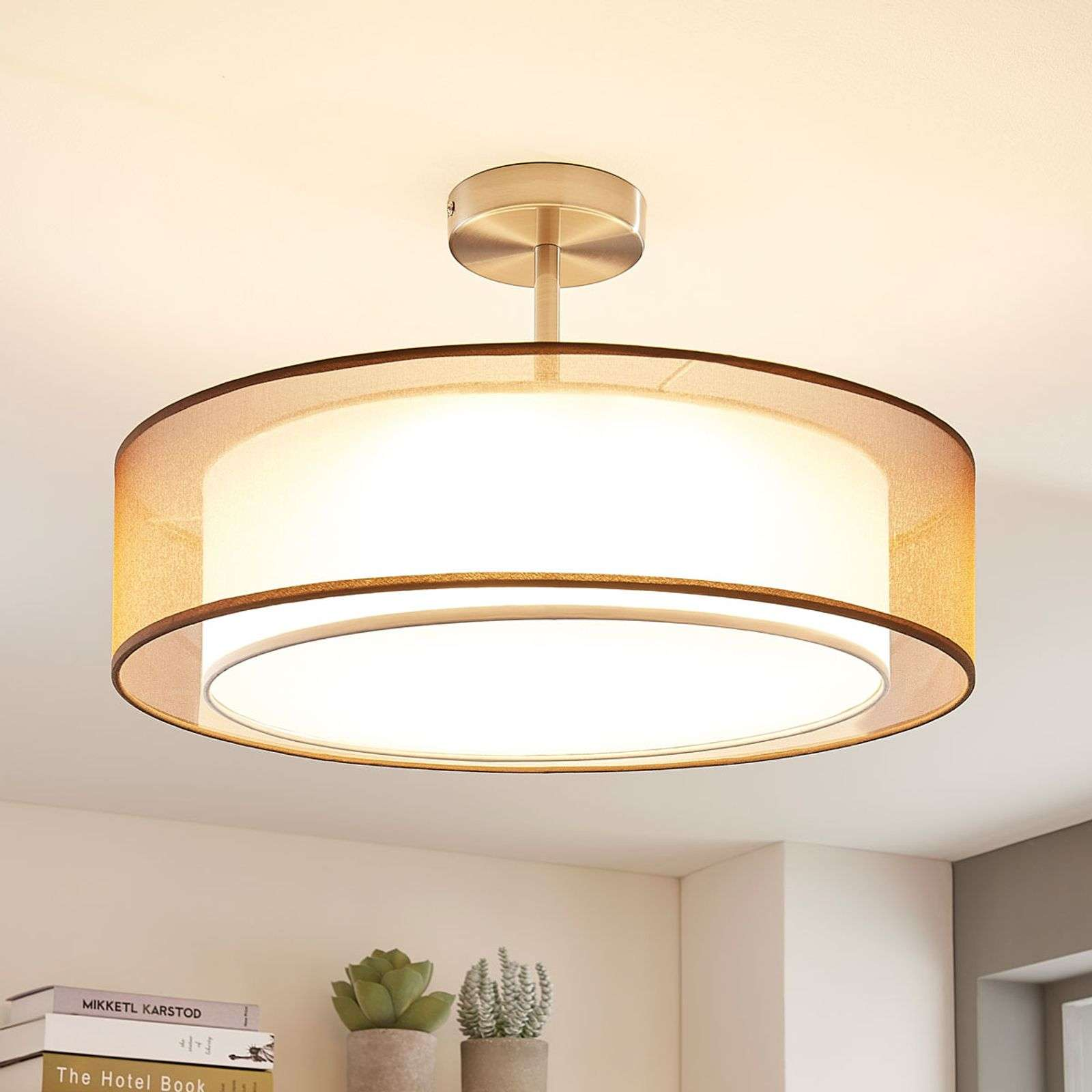 Plafonnier LED rond Pikka marron, dimmable