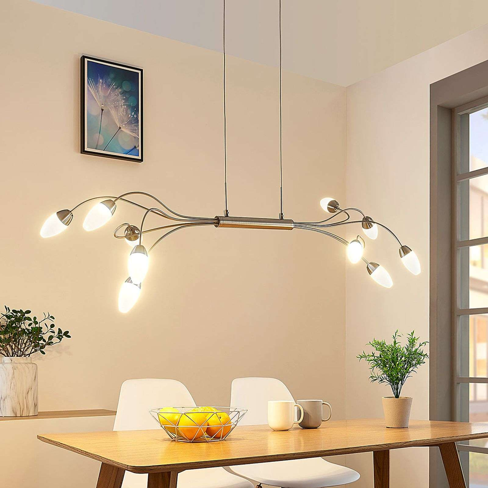 Suspension LED Deyan à 10 lampes, dimmable