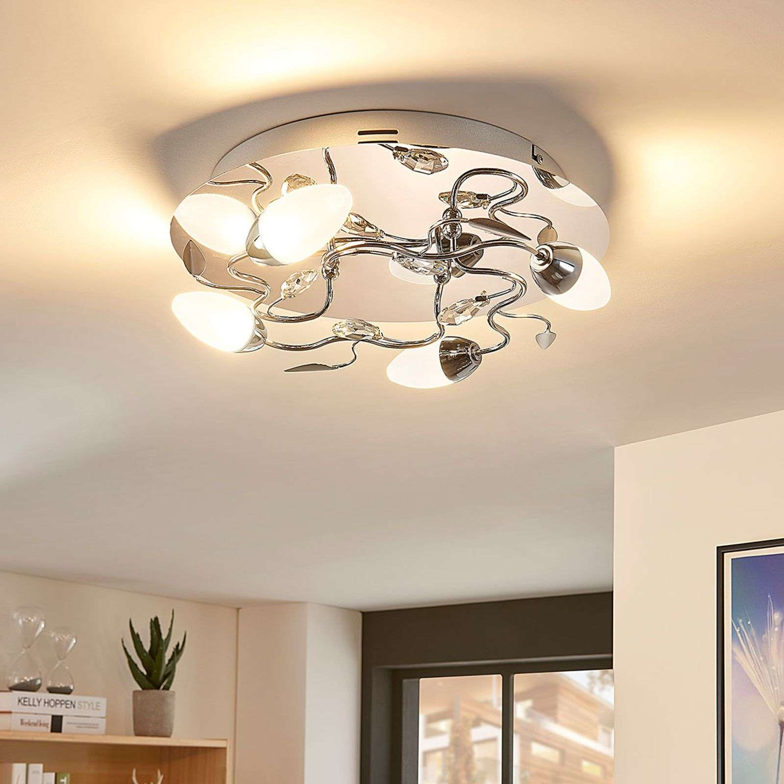 Plafonnier LED dimmable Mischa rond, 4 lampes