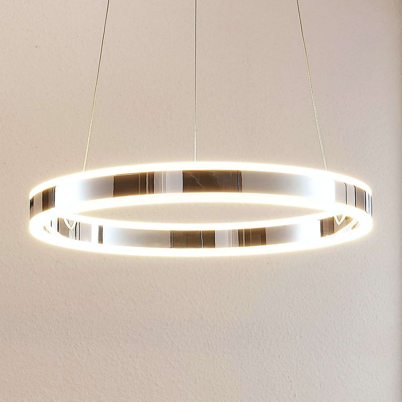 Suspension LED Lyani en chromé, dimmable, 50 cm