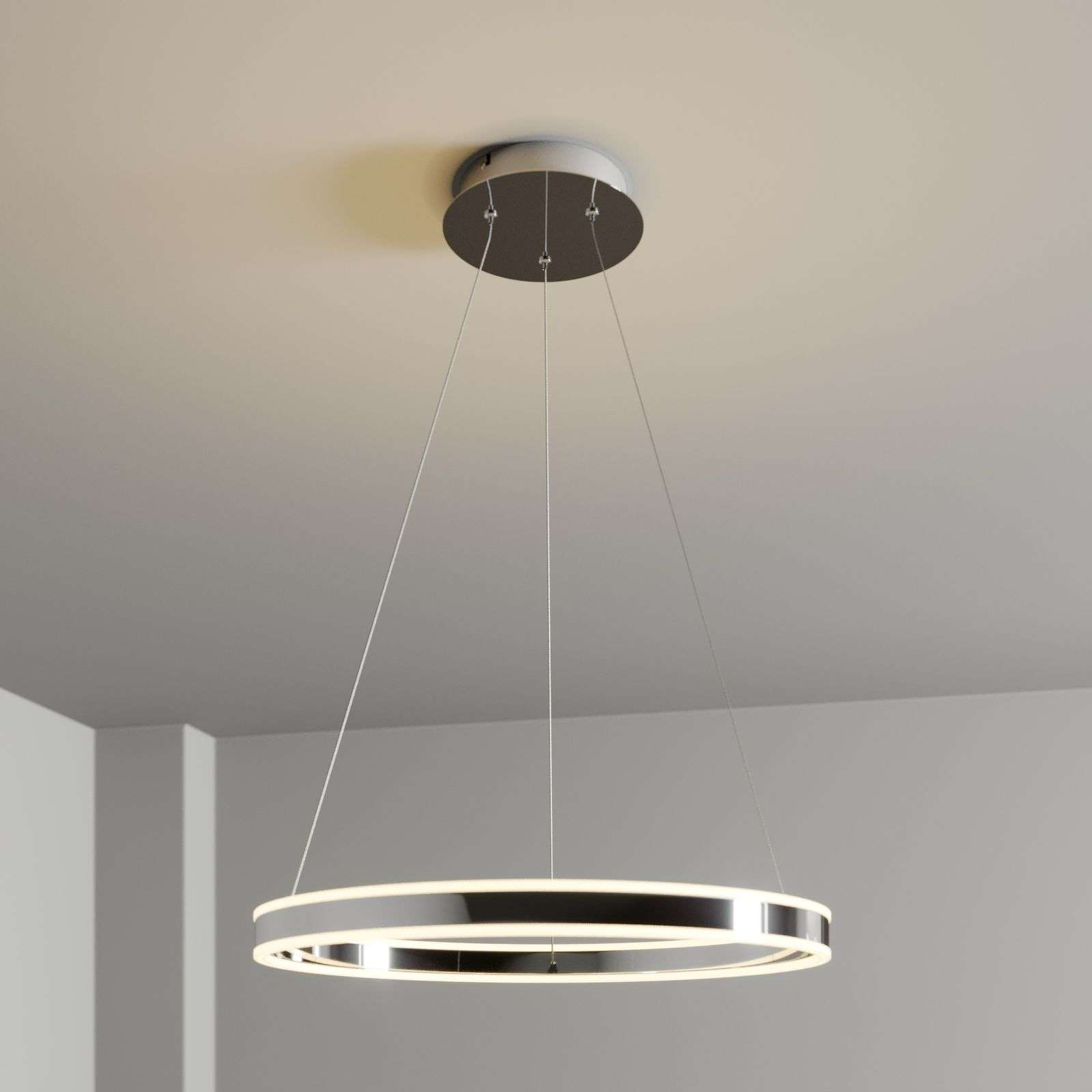 Suspension LED Lyani chromée et dimmable, 60 cm