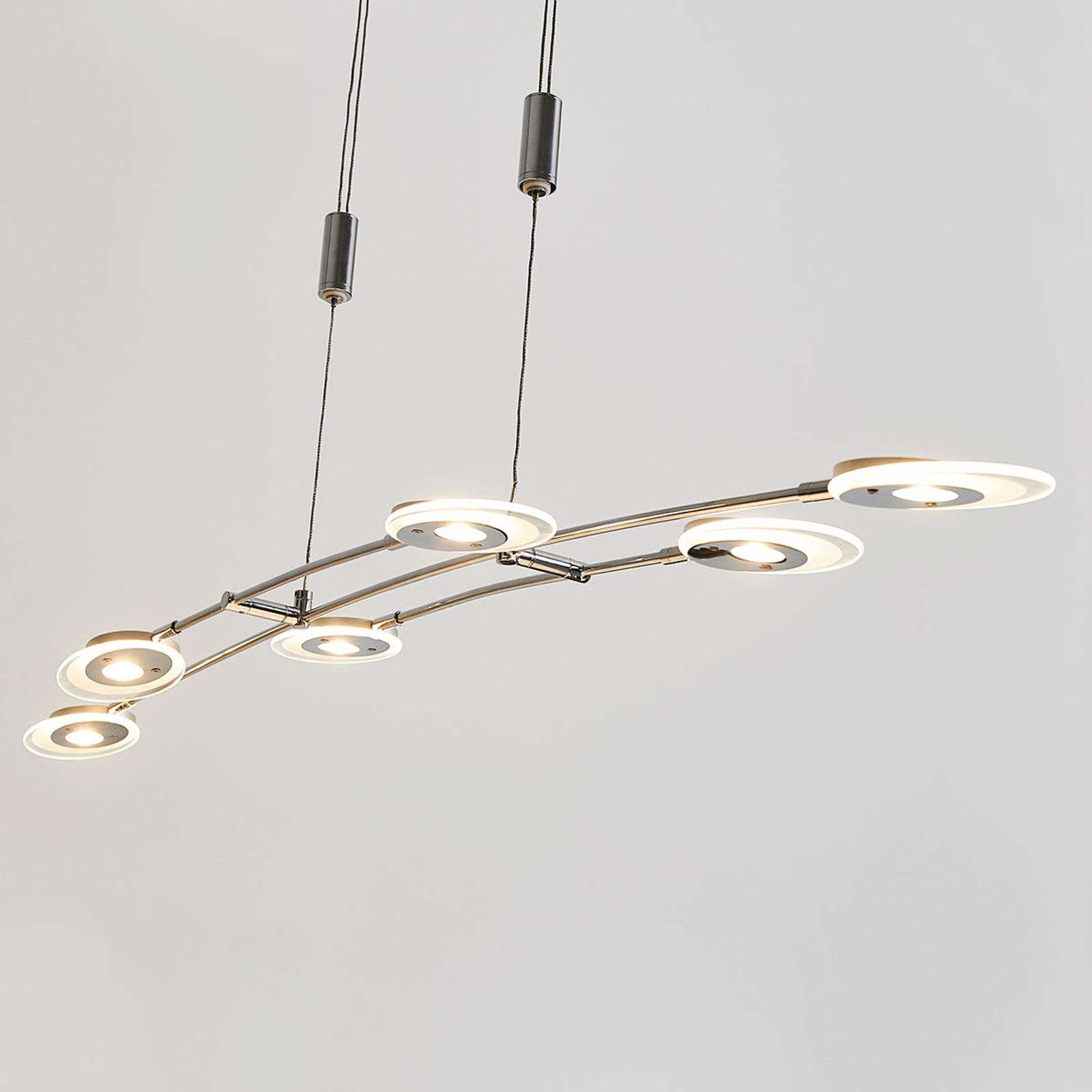 Suspension LED Alecia six lampes, à hauteur régl.