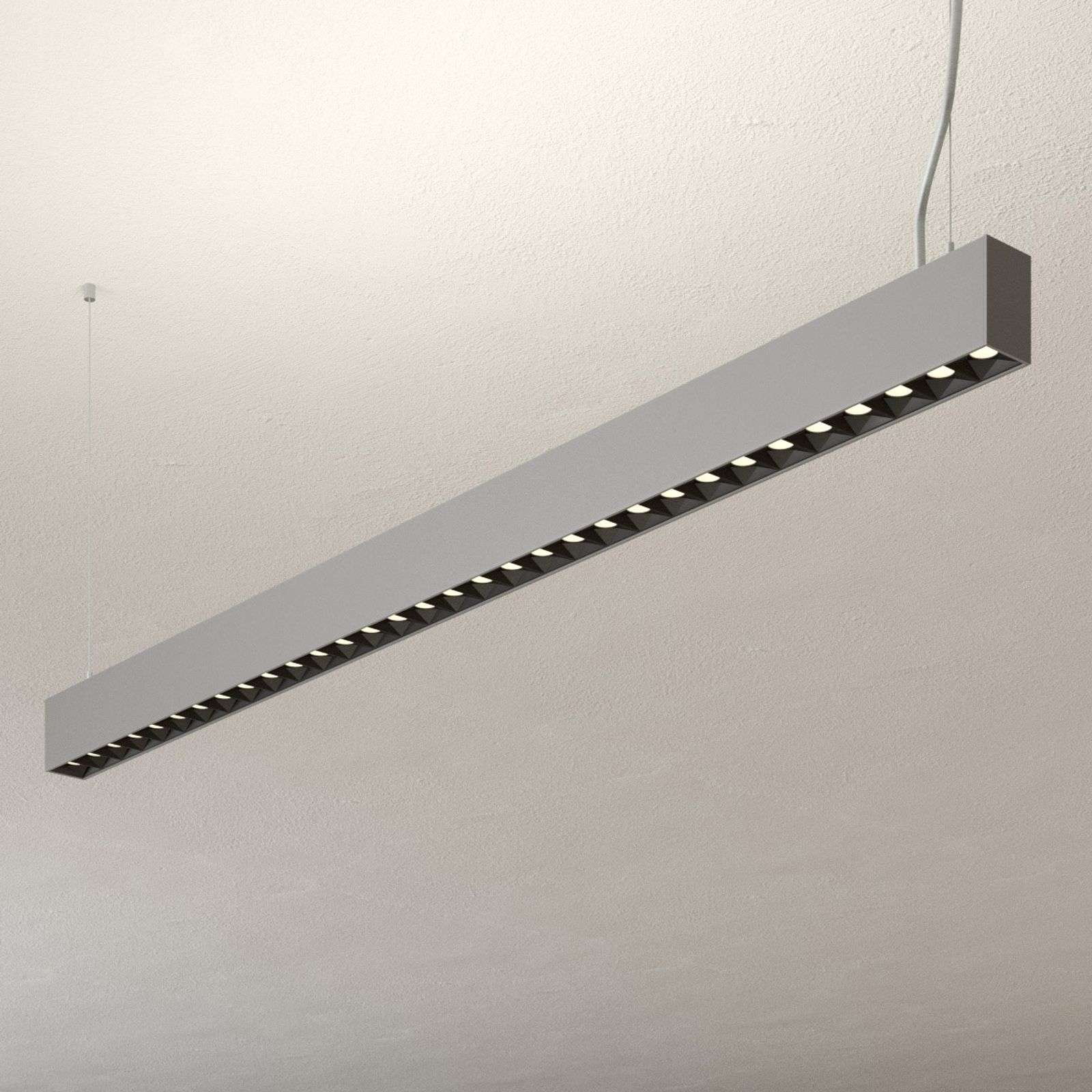 Suspension bureau LED Laris argenté dimmable DALI