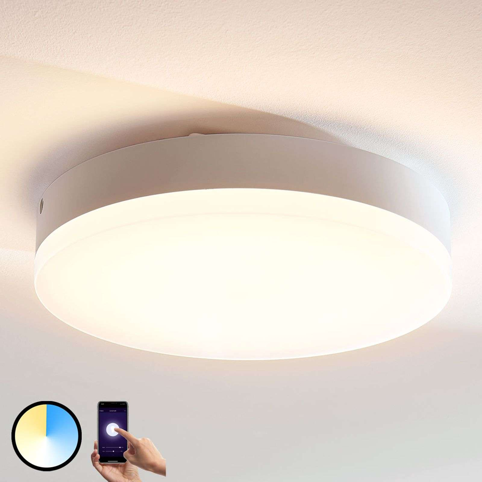 Plafonnier LED rond Chester, couleur variable