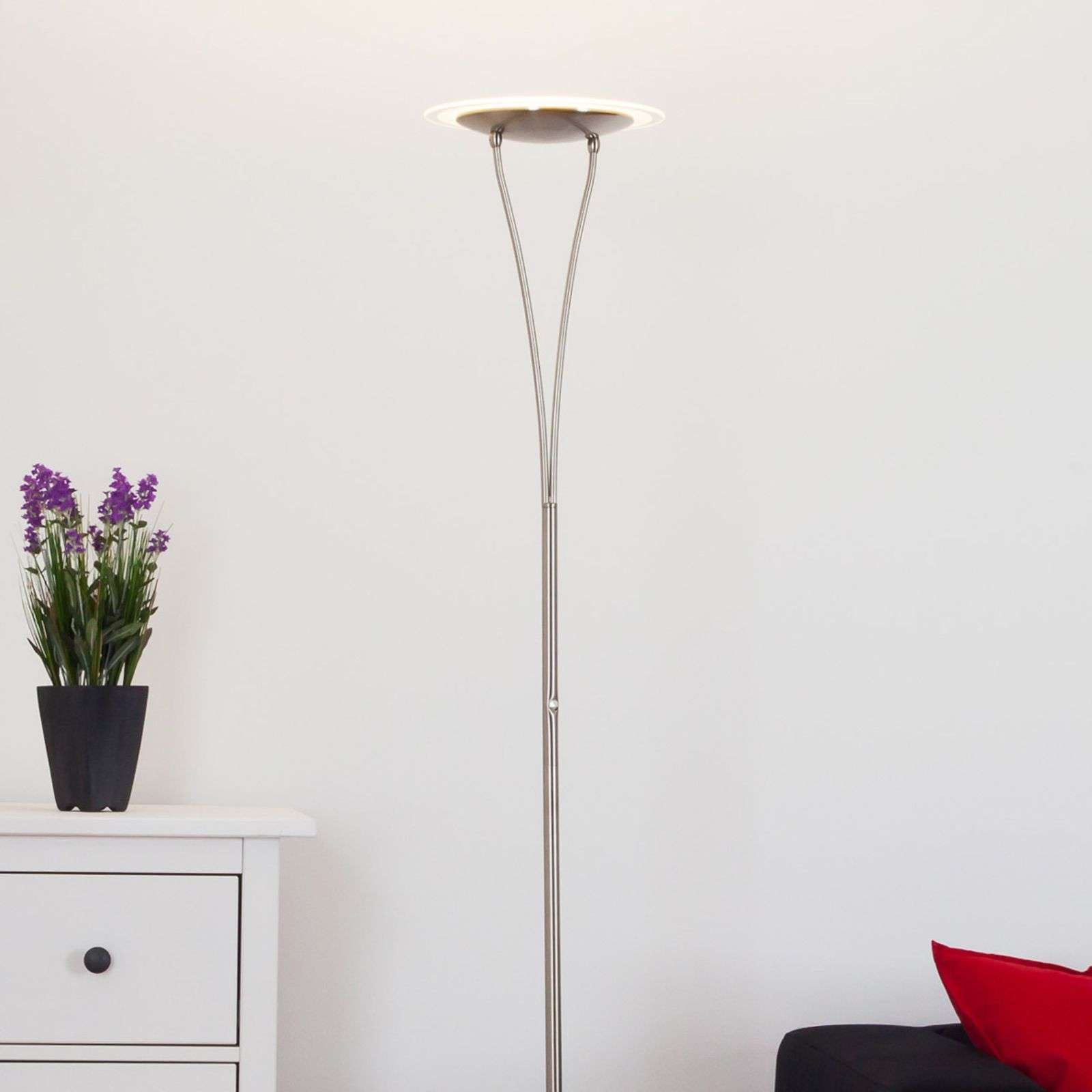 Lampadaire LED métallique Sybille, nickel mat