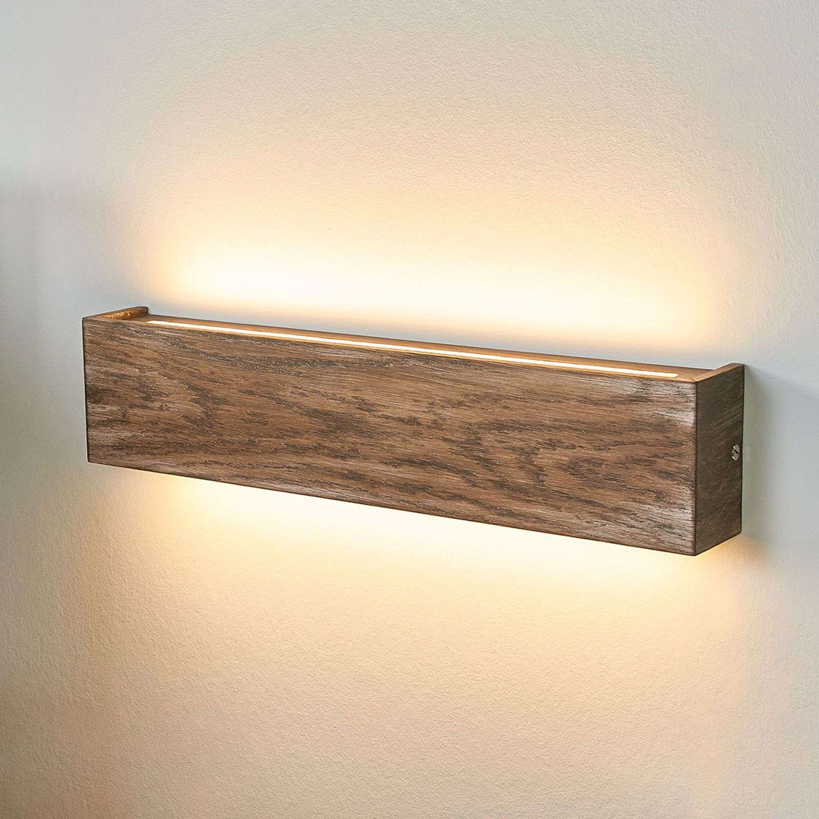 Applique LED Mila bois, dimmable, 45 cm