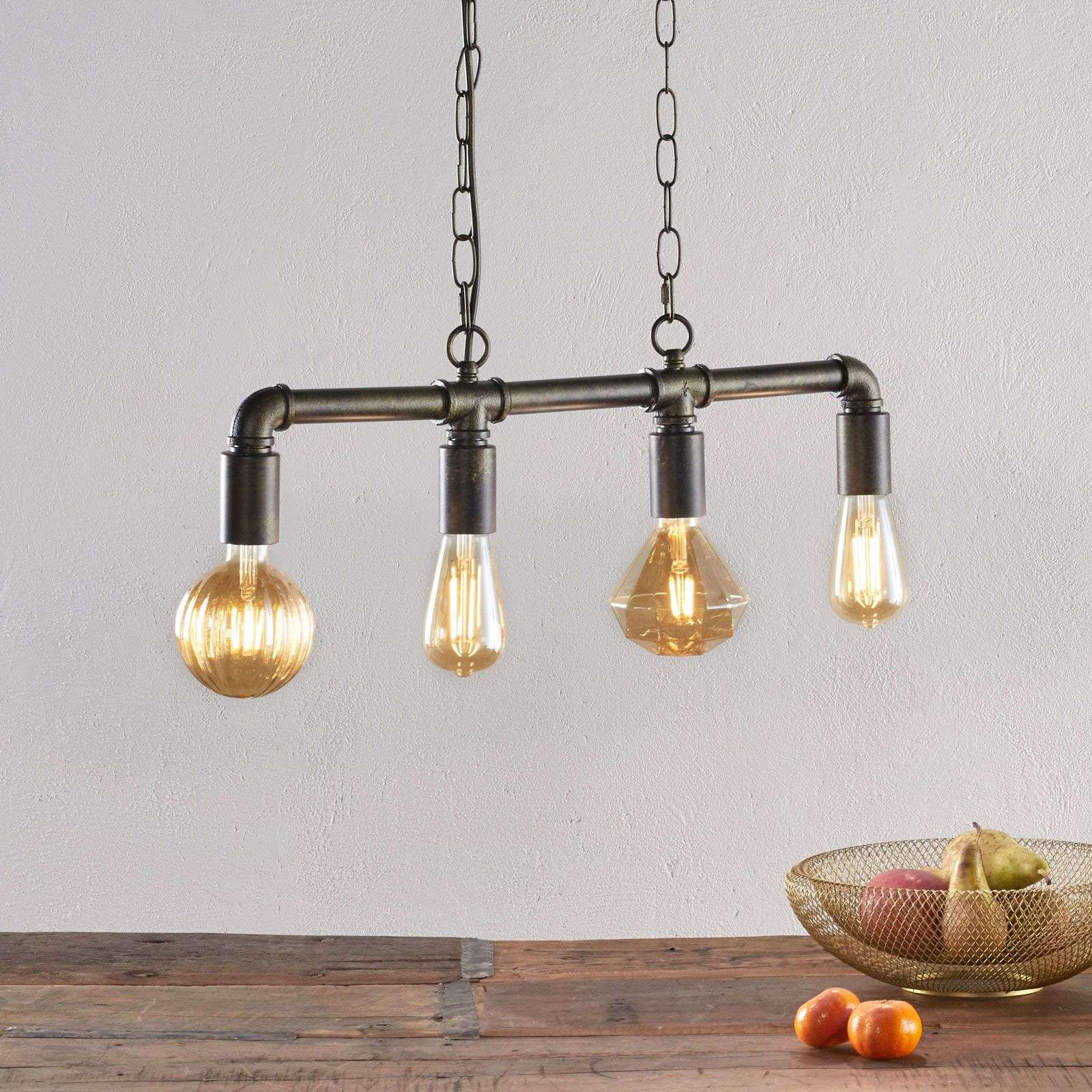 Suspension LED Leonas, style industriel