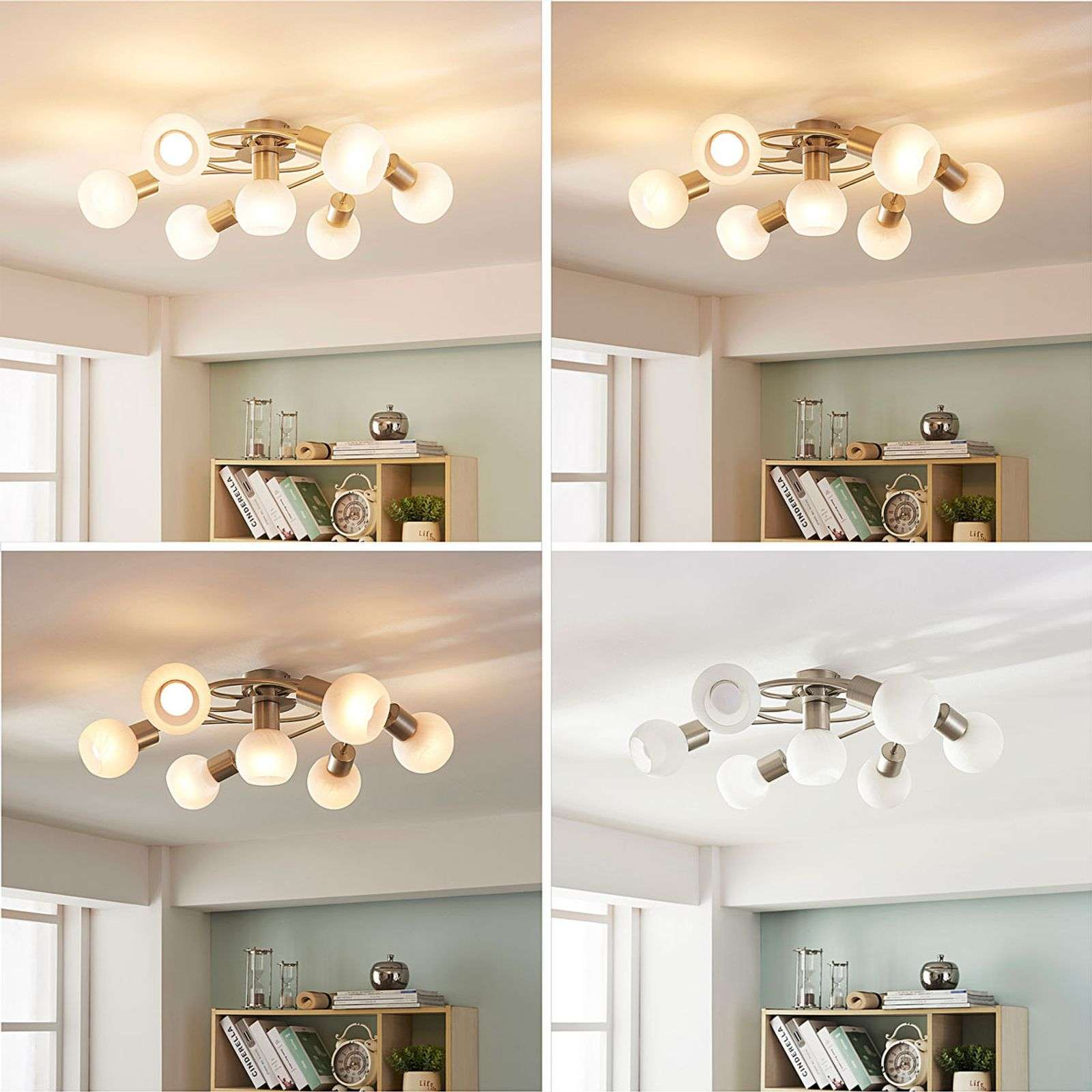 Grand plafonnier LED Tanos, dimmable, 7 lampes