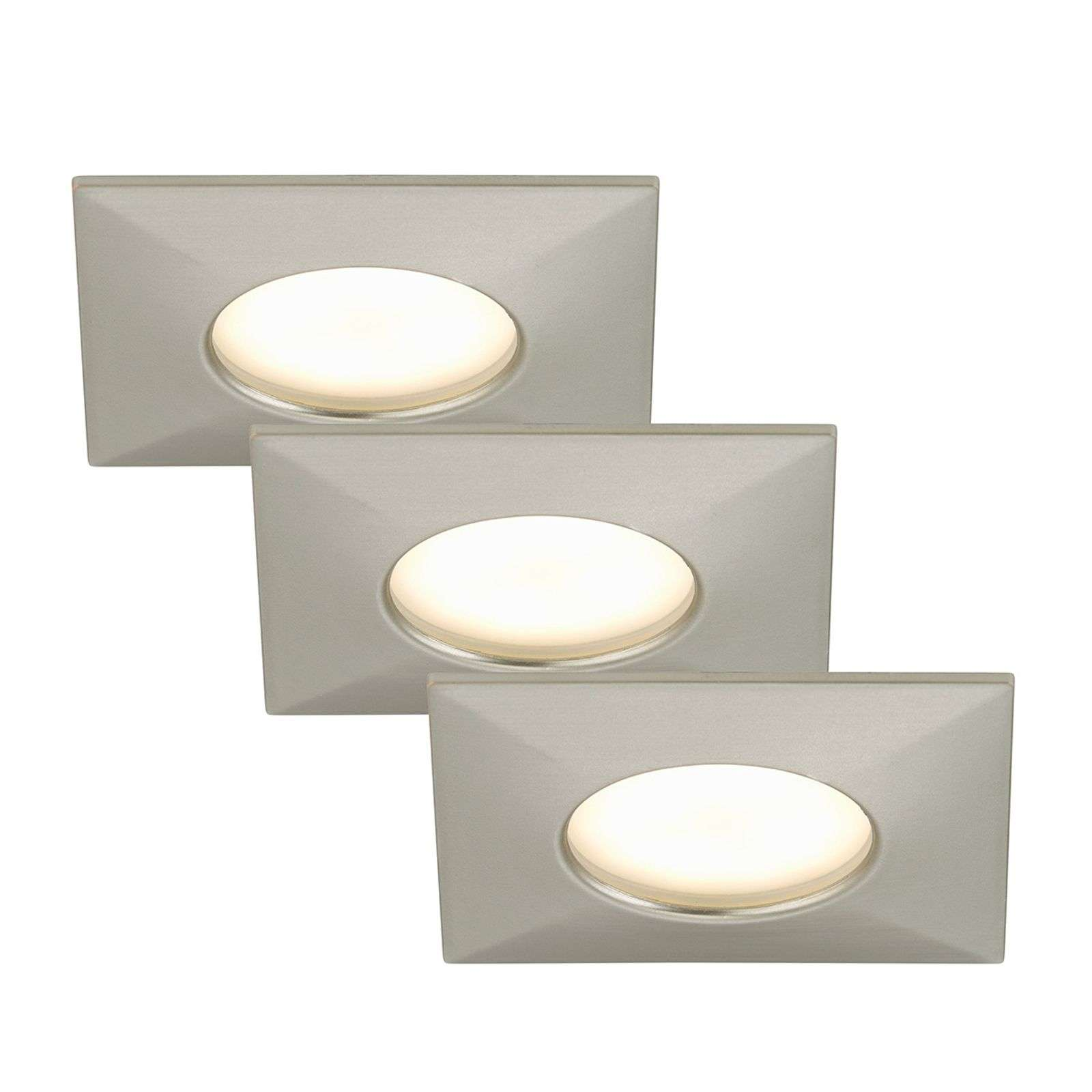 3 spots encastrés LED Luca IP44 nickel mat