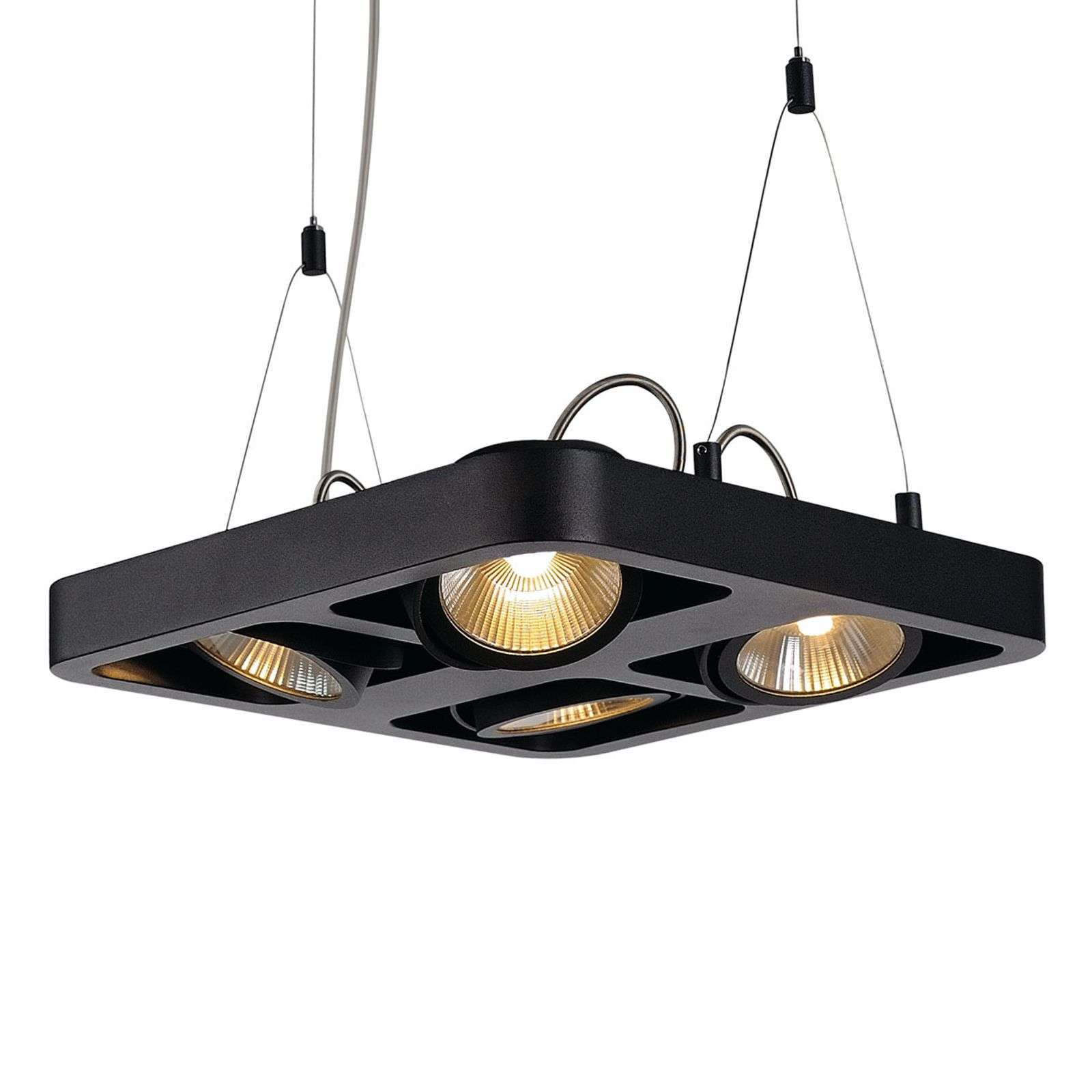 Suspension LED Lynah à quatre lampes, noire
