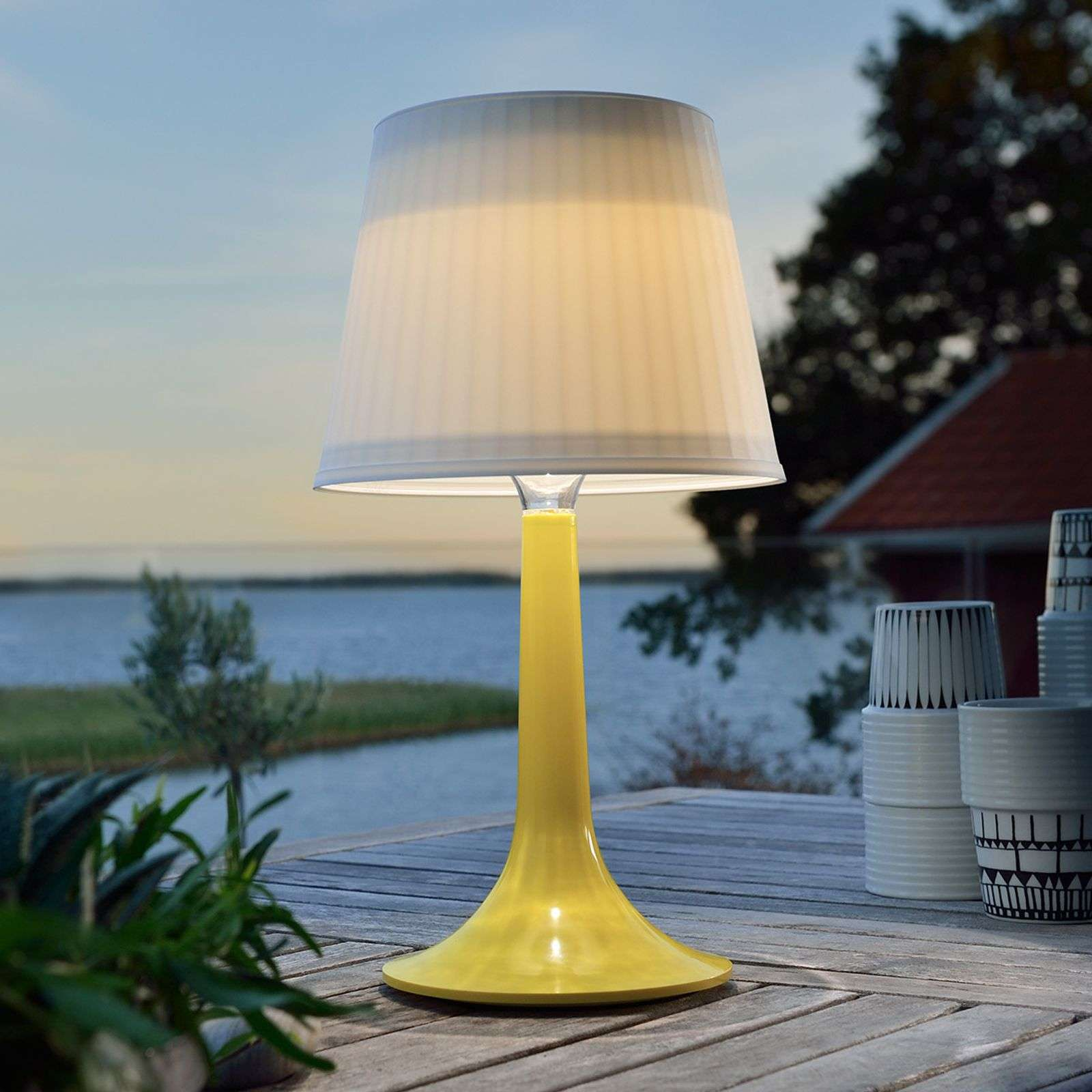 Lampe à poser LED solaire jaune Assisi Sitra