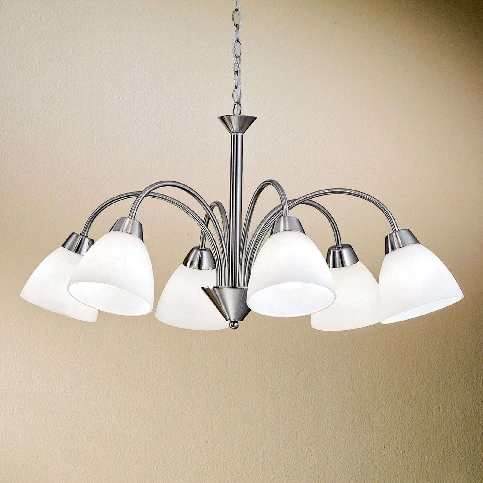 Charmante suspension KINGA à 6 lampes, nickel