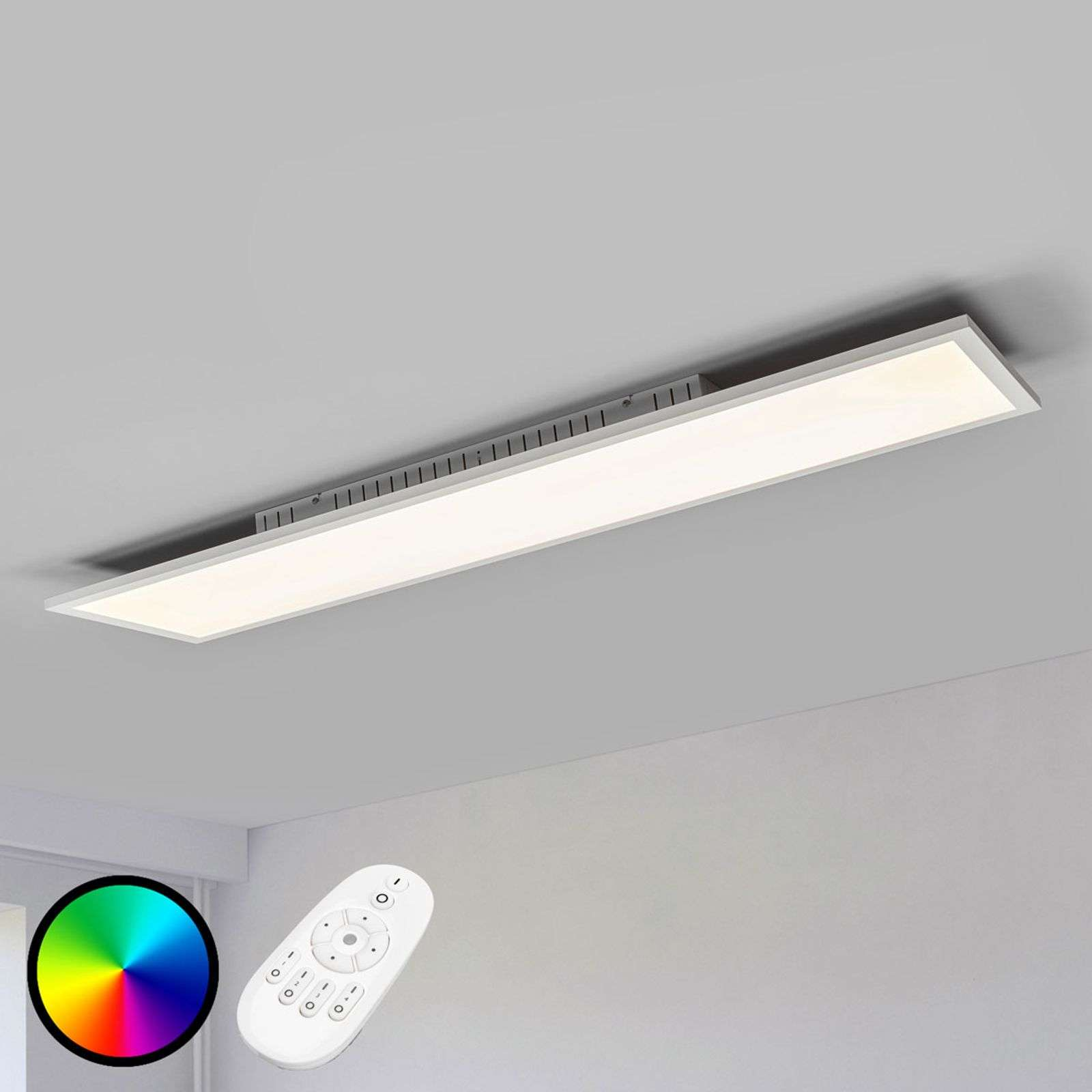 Long plafonnier LED dimmable Milian, RGB