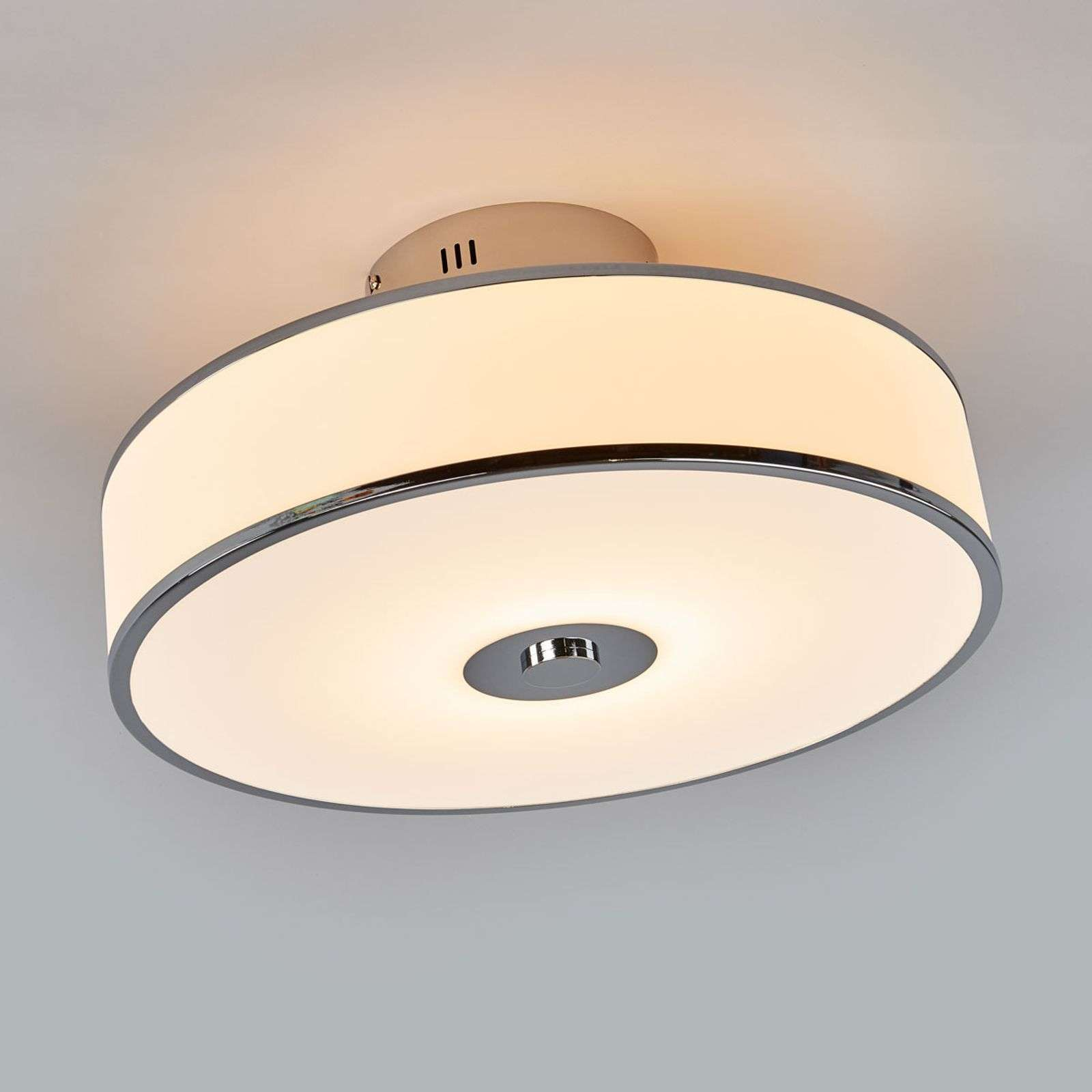 Plafonnier LED Lounge dimmable en blanc/chromé