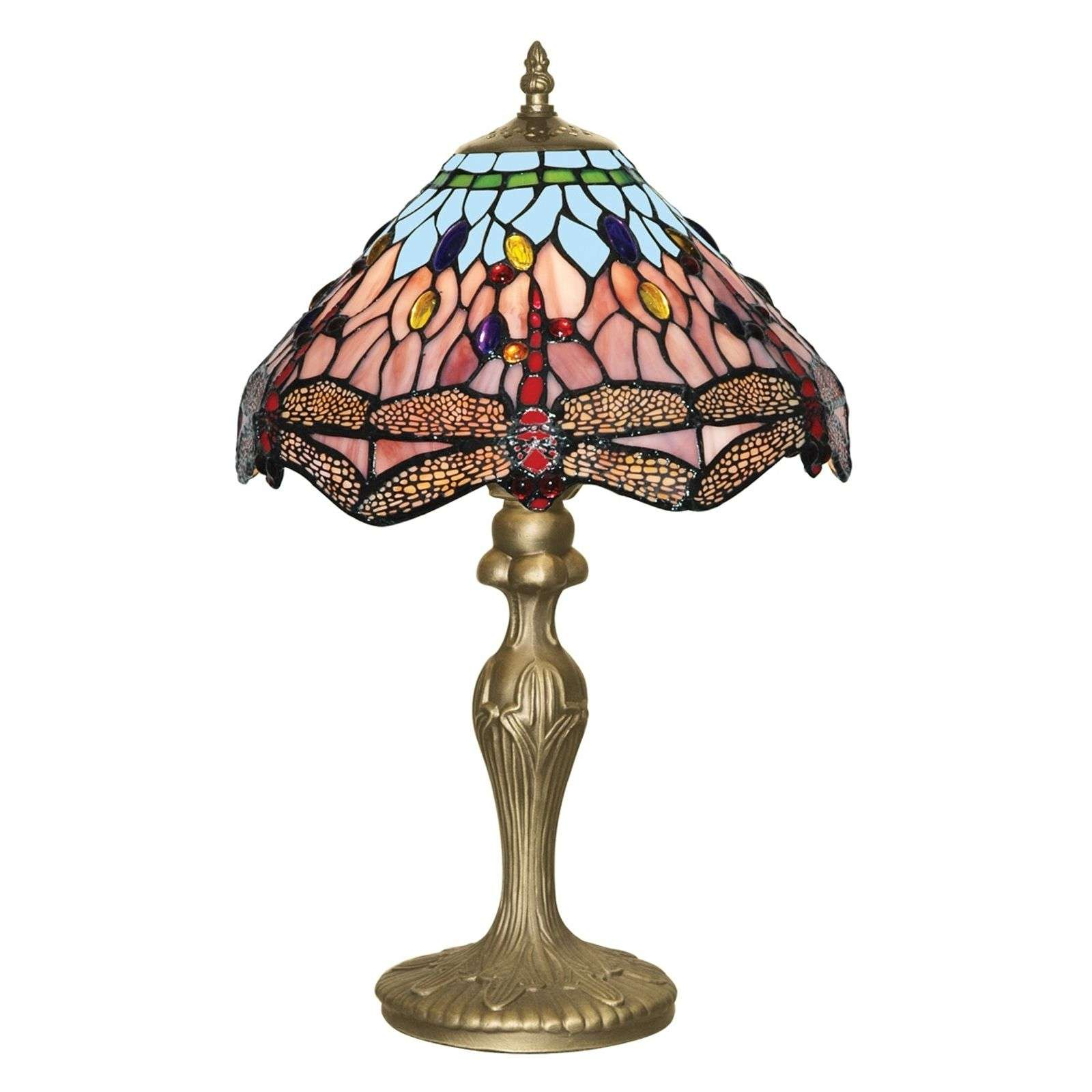 Lampe poser classique DRAGONFLY de style Tiffany