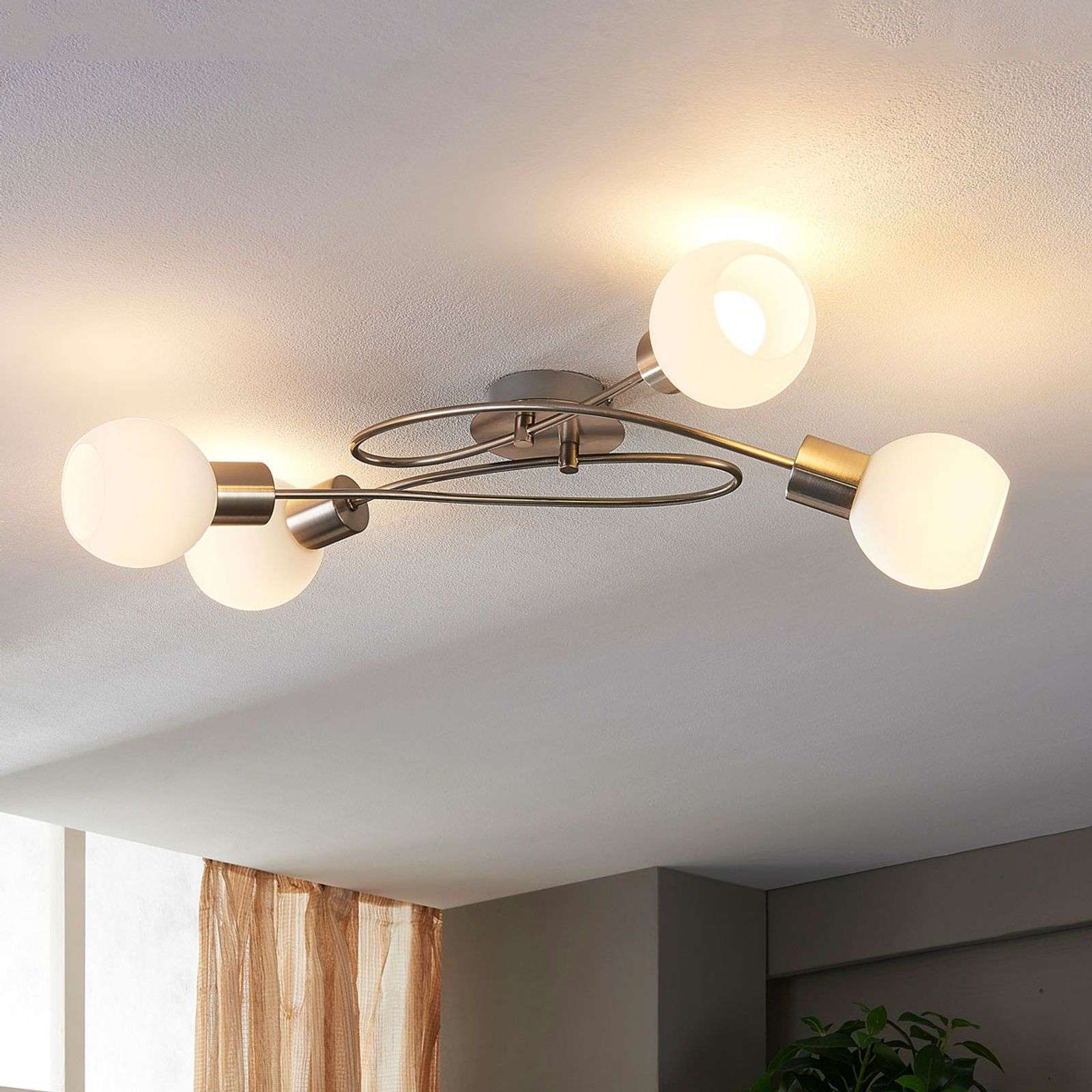 Plafonnier LED Hailey à 4 lampes, nickel