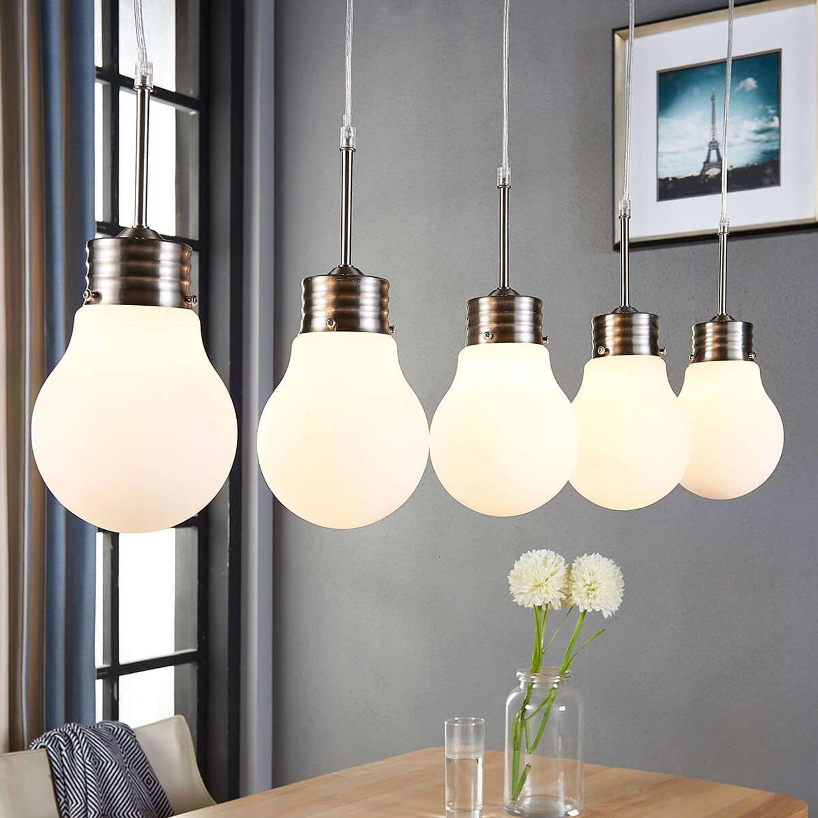 5 lampes Suspension Bado réglable par interrupteur