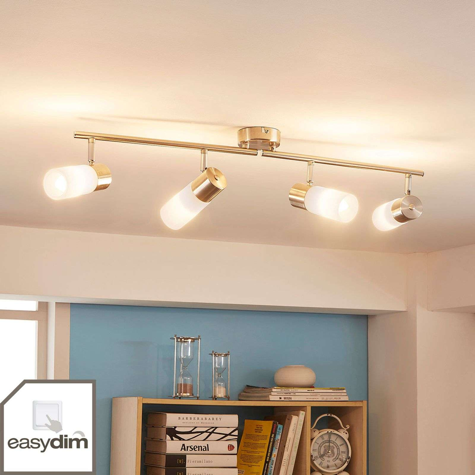 Plafonnier LED Easydim Erva, nickel satiné