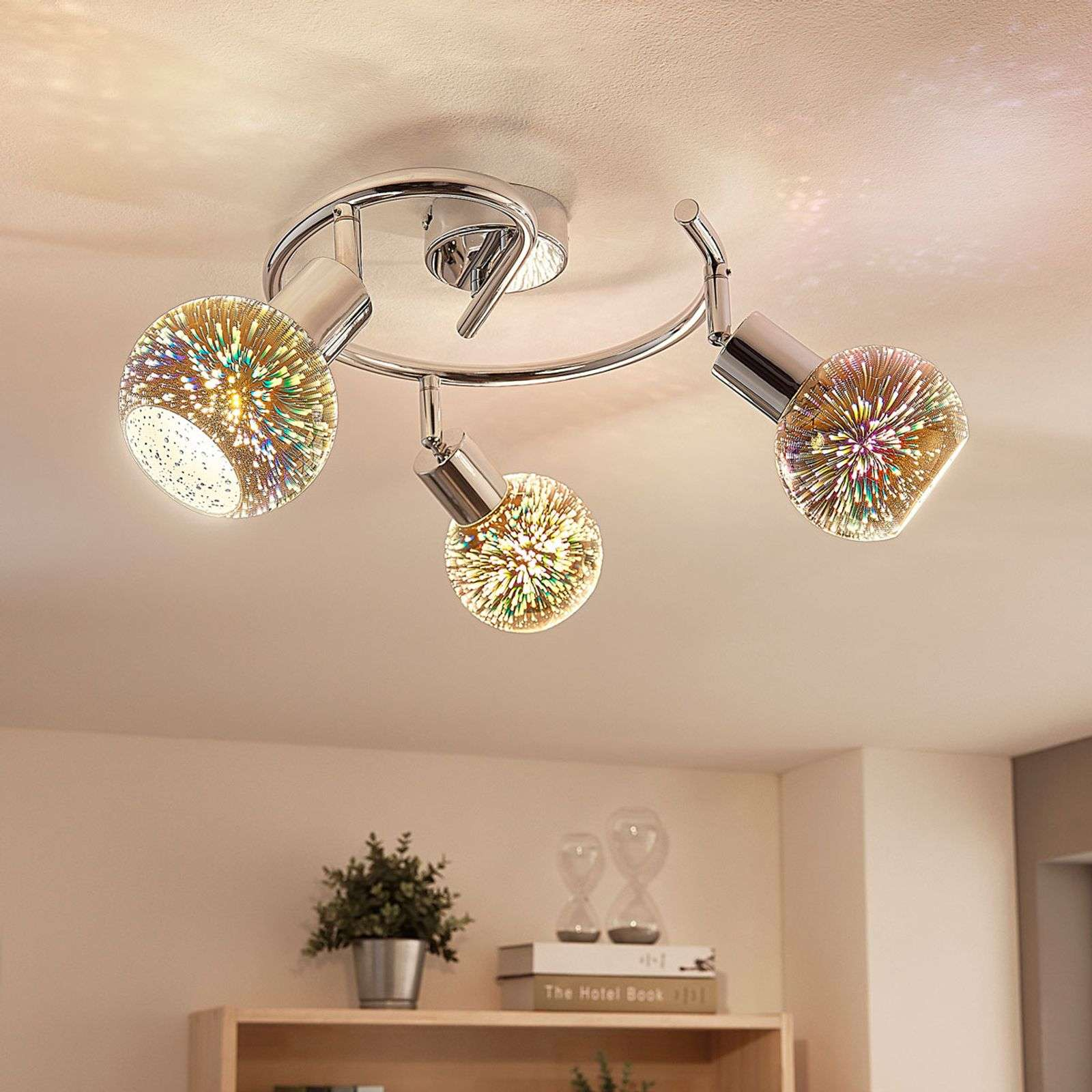 Plafonnier rond LED 3 lampes Isumi verre Firework