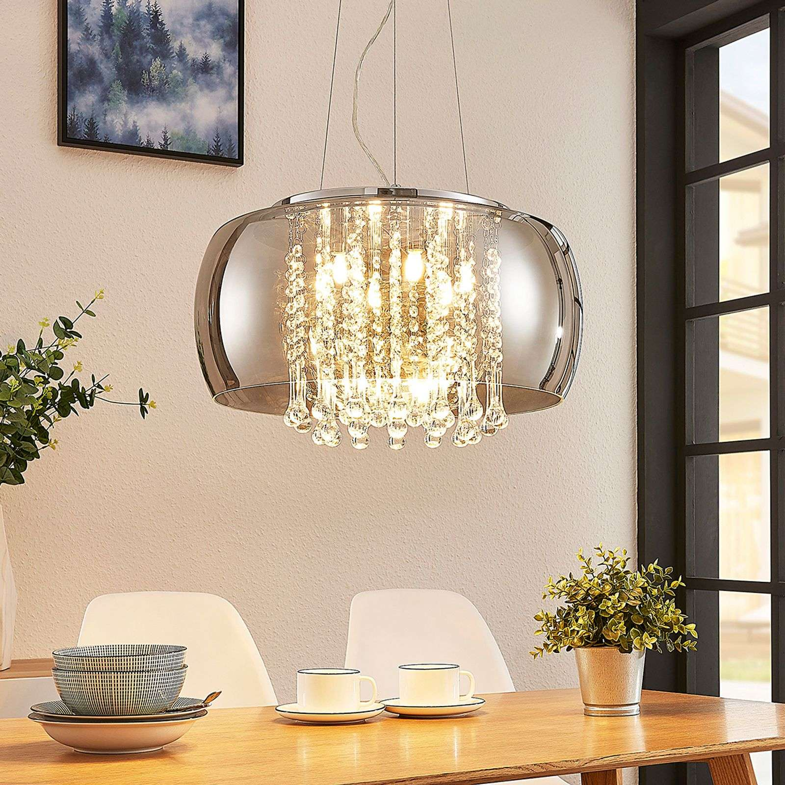 Suspension LED Joani, verre fumé 50 cm