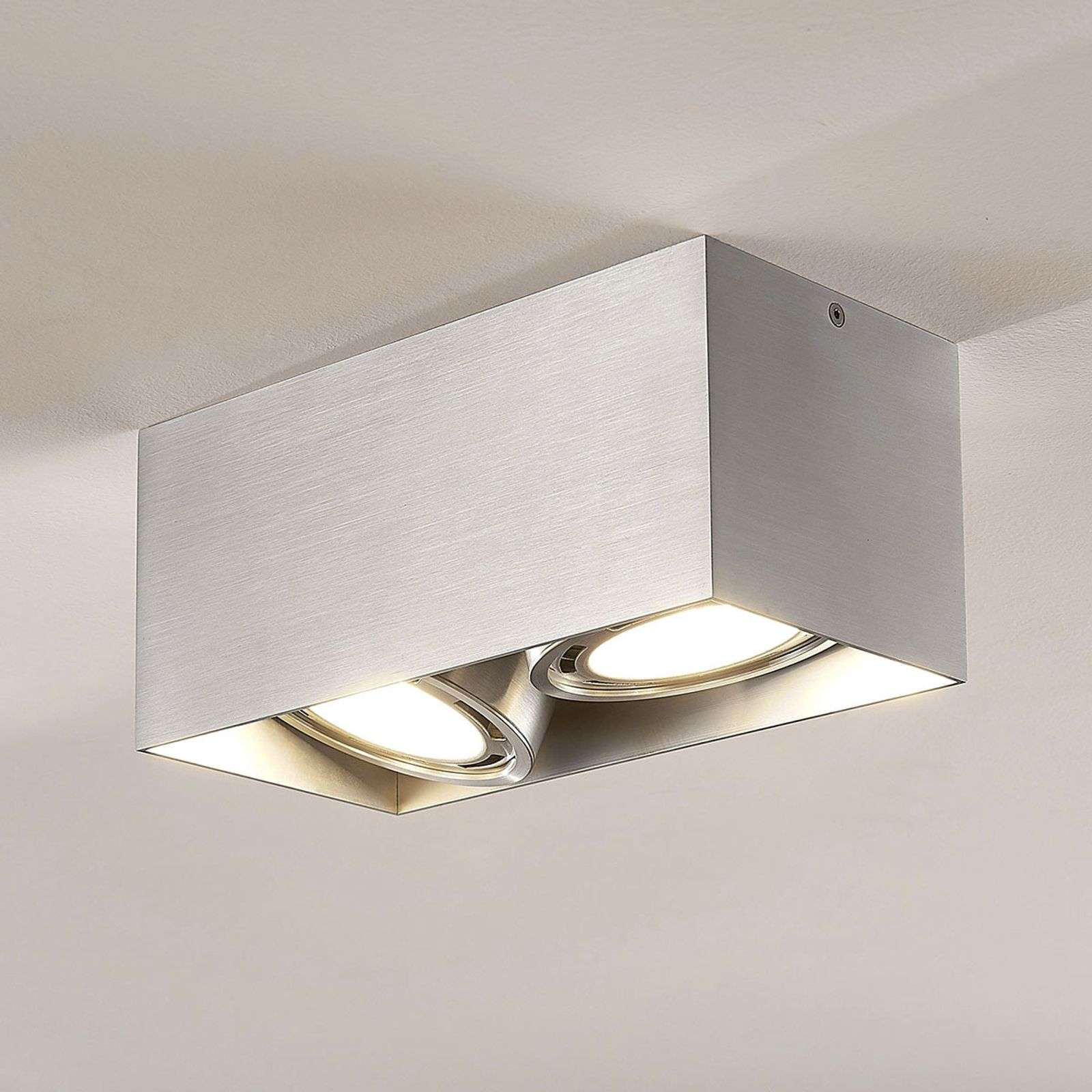 Downlight LED Rosalie à 2 lampes, carré, alu