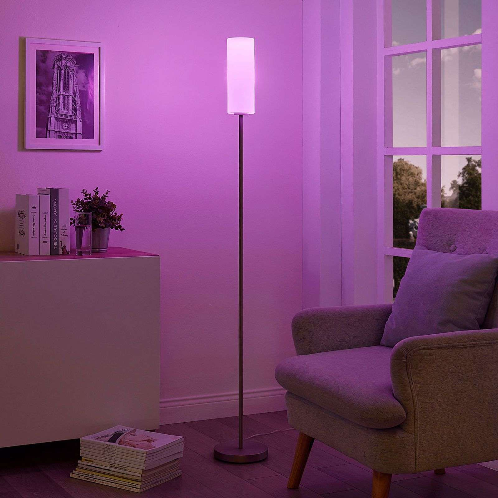 Lindby Smart lampadaire LED RVB Felice, appli