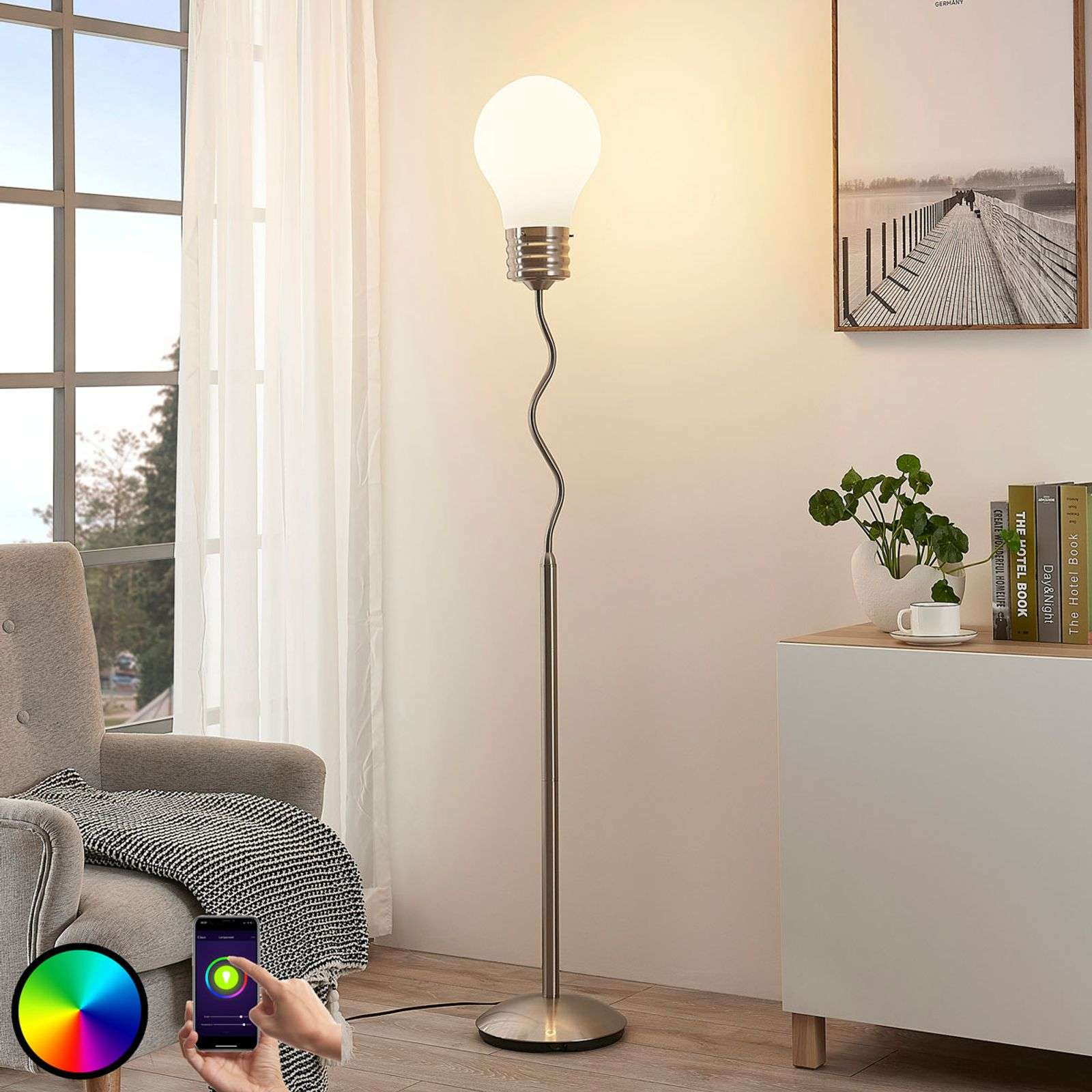 Lampadaire LED RVB Mena, avec application