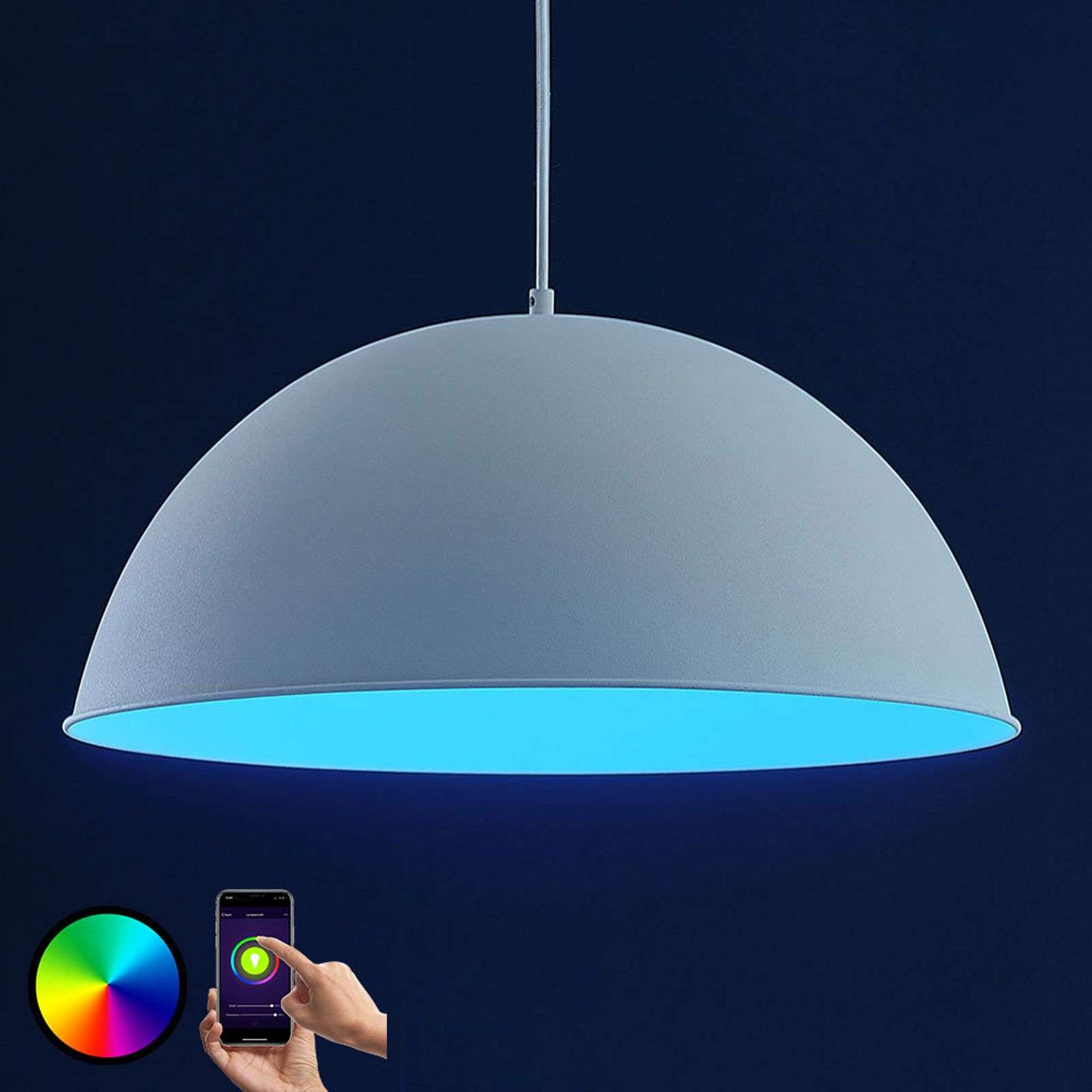 Lindby Smart suspension LED Bowl 51 cm blanc