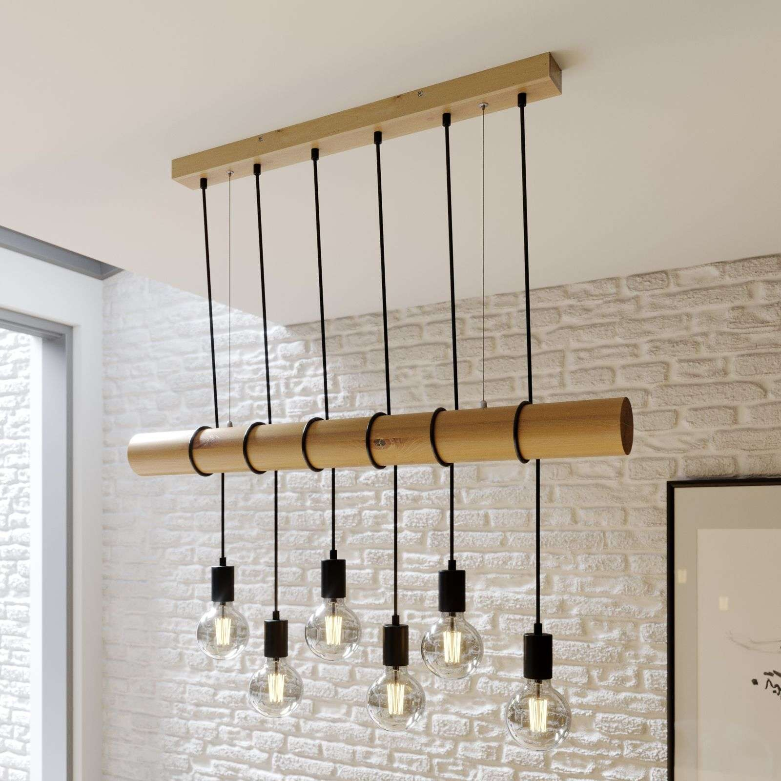 Suspension Eviton en bois, à 6 lampes naturel