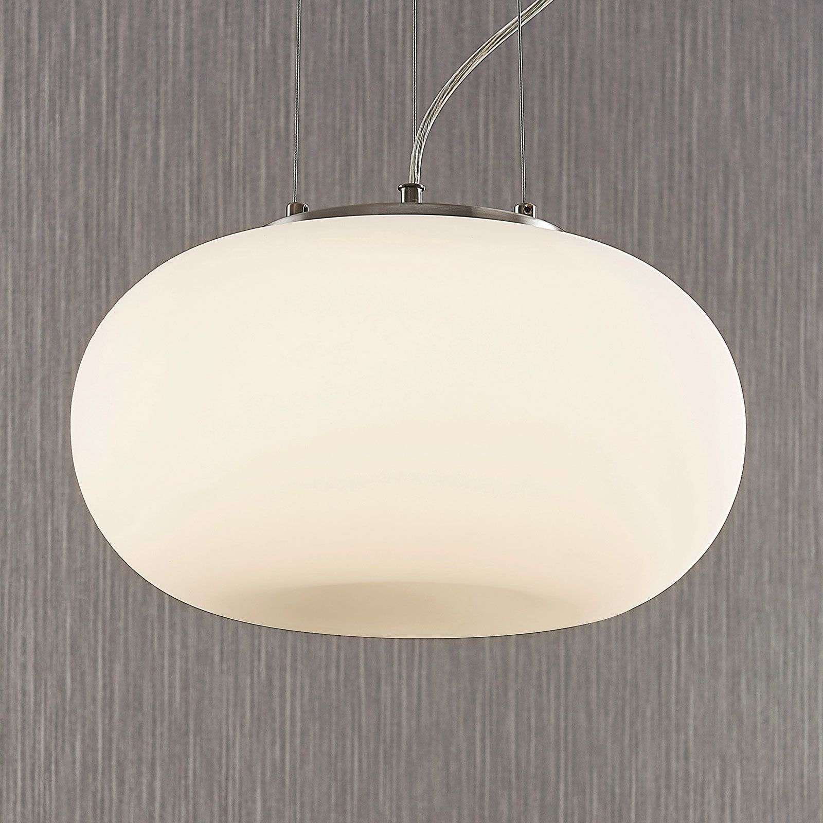 Suspension en verre opale LED Aglaja, blanc