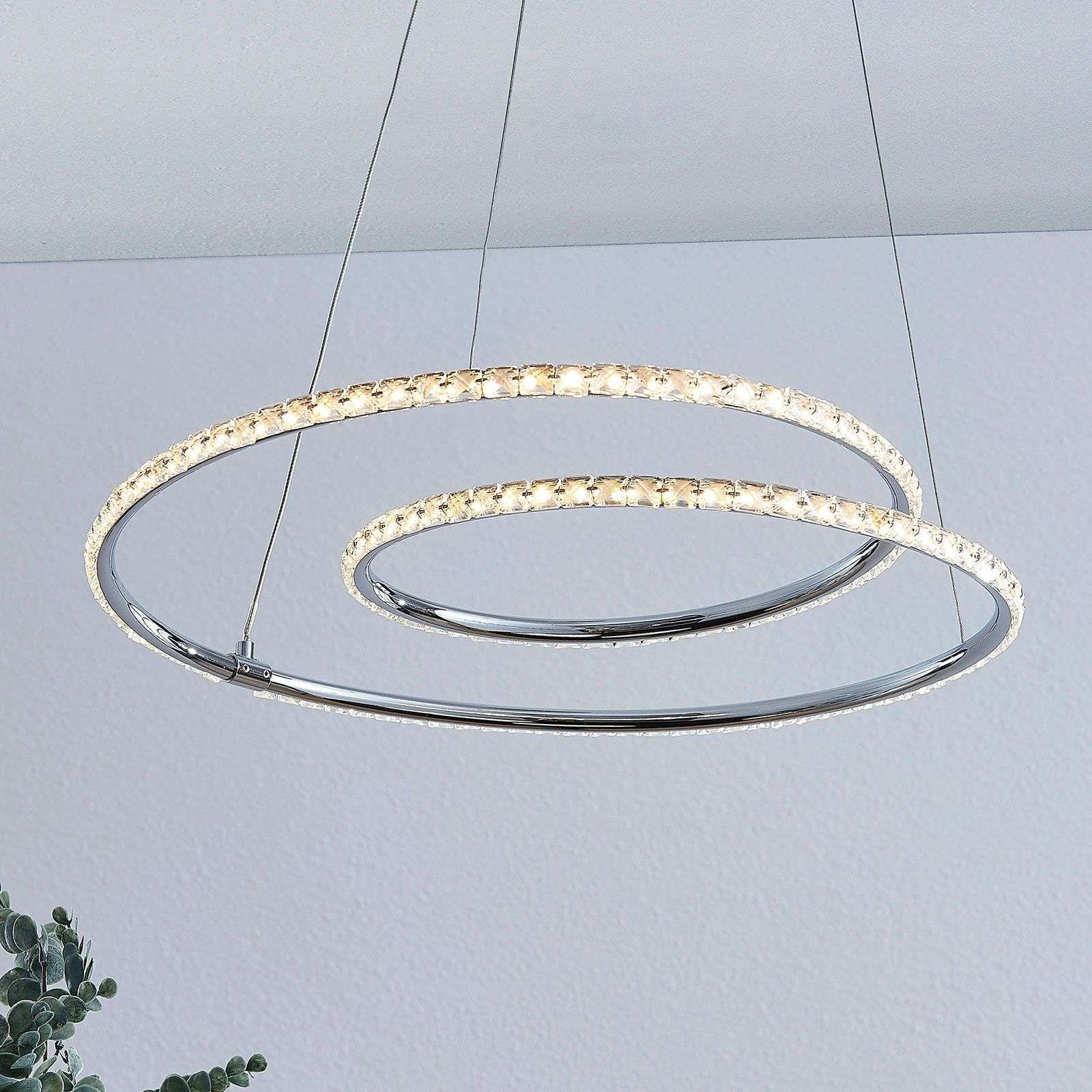 Lindby Lucy suspension LED, 45cm, cristal