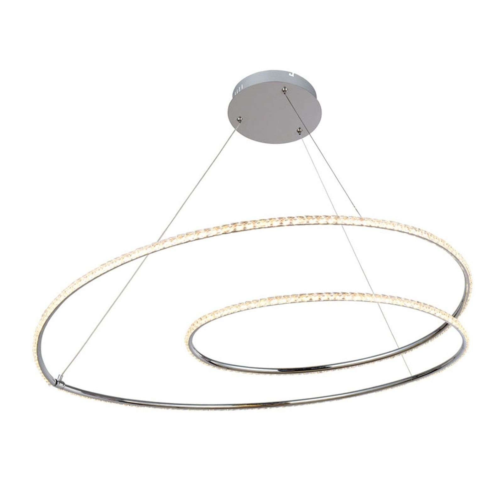Lindby Lucy suspension LED, 90 cm, cristal