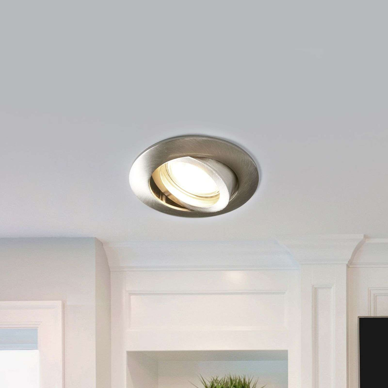 Spot LED encastrable Charna aspect nickel, rond