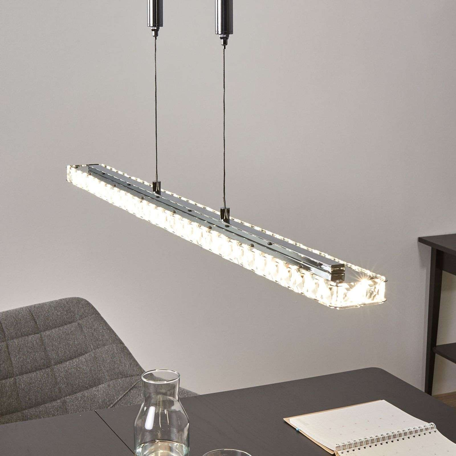 Suspension en cristal LED Sesilia hauteur réglable