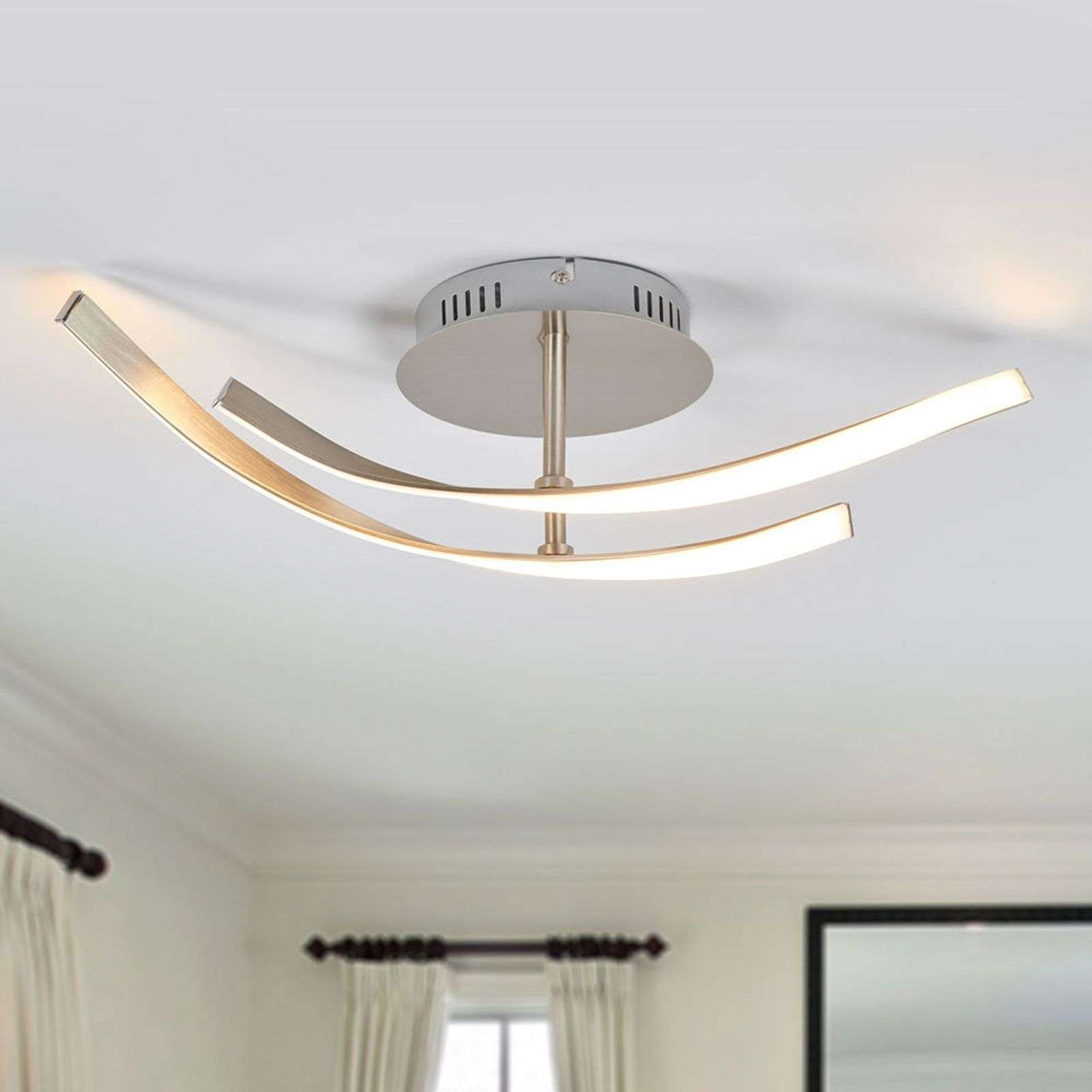 Plafonnier LED Milane moderne, aspect nickel