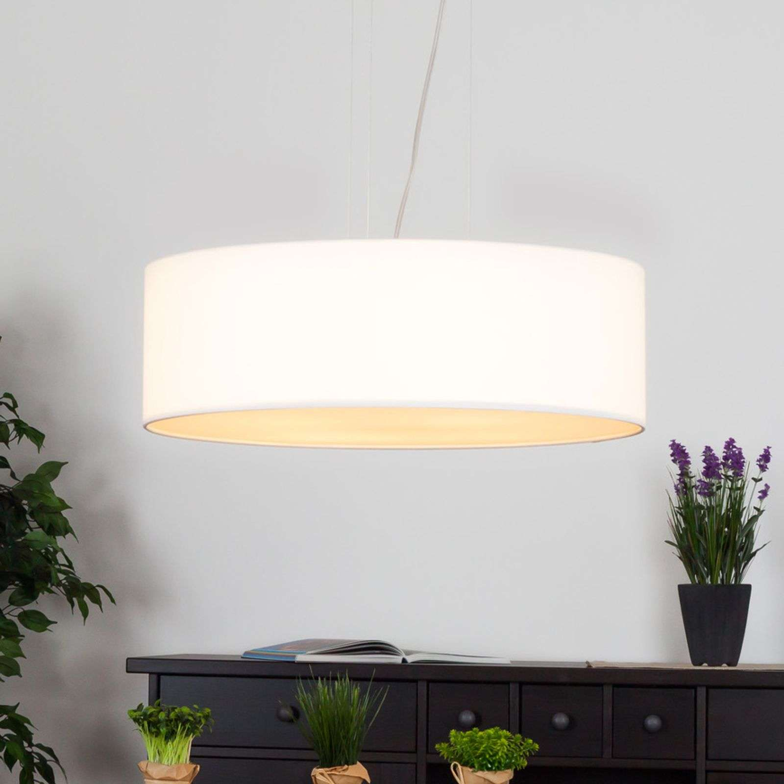 Suspension LED Gala, 50 cm, abat-jour chintz blanc