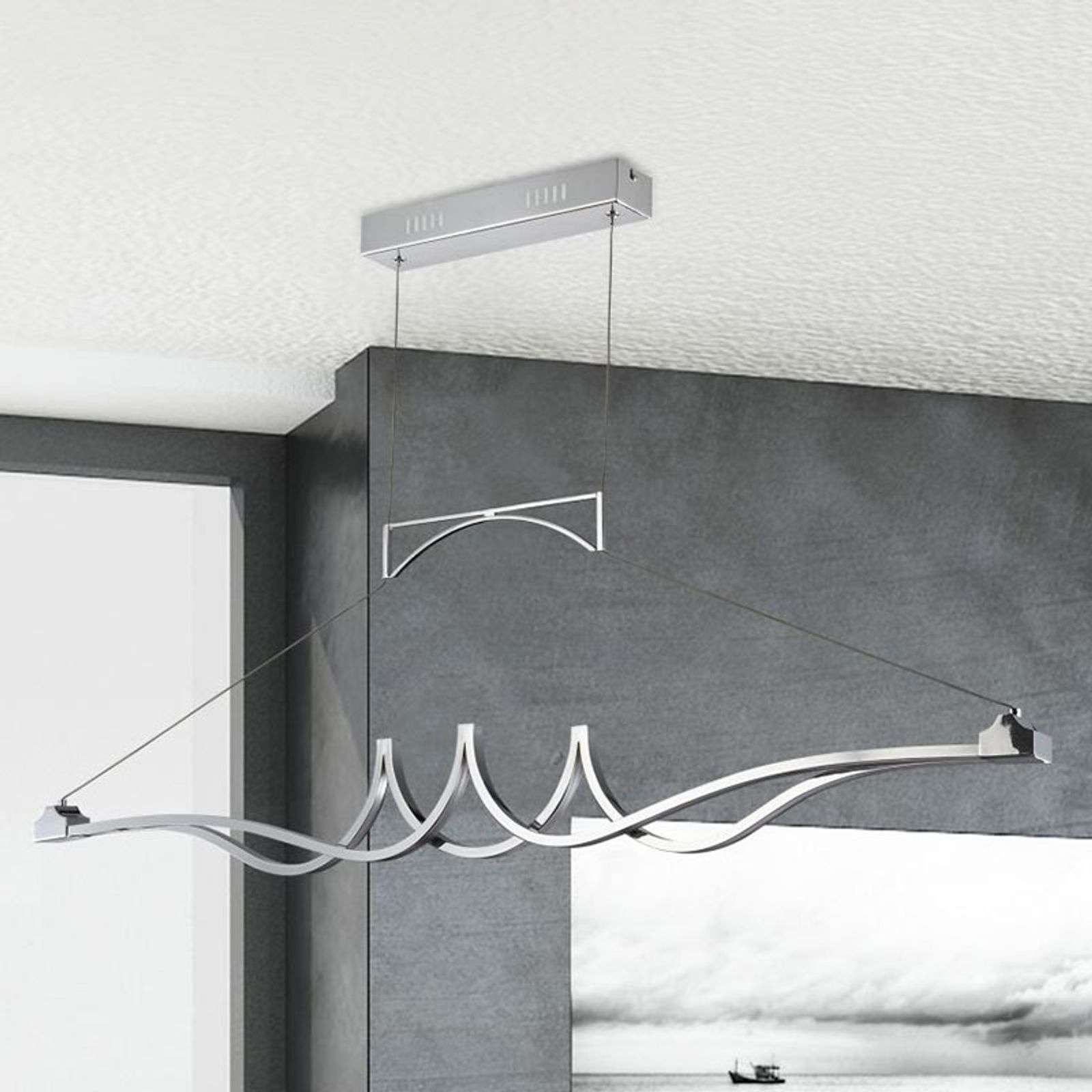 Suspension LED chromée brillante Wave, dimmable