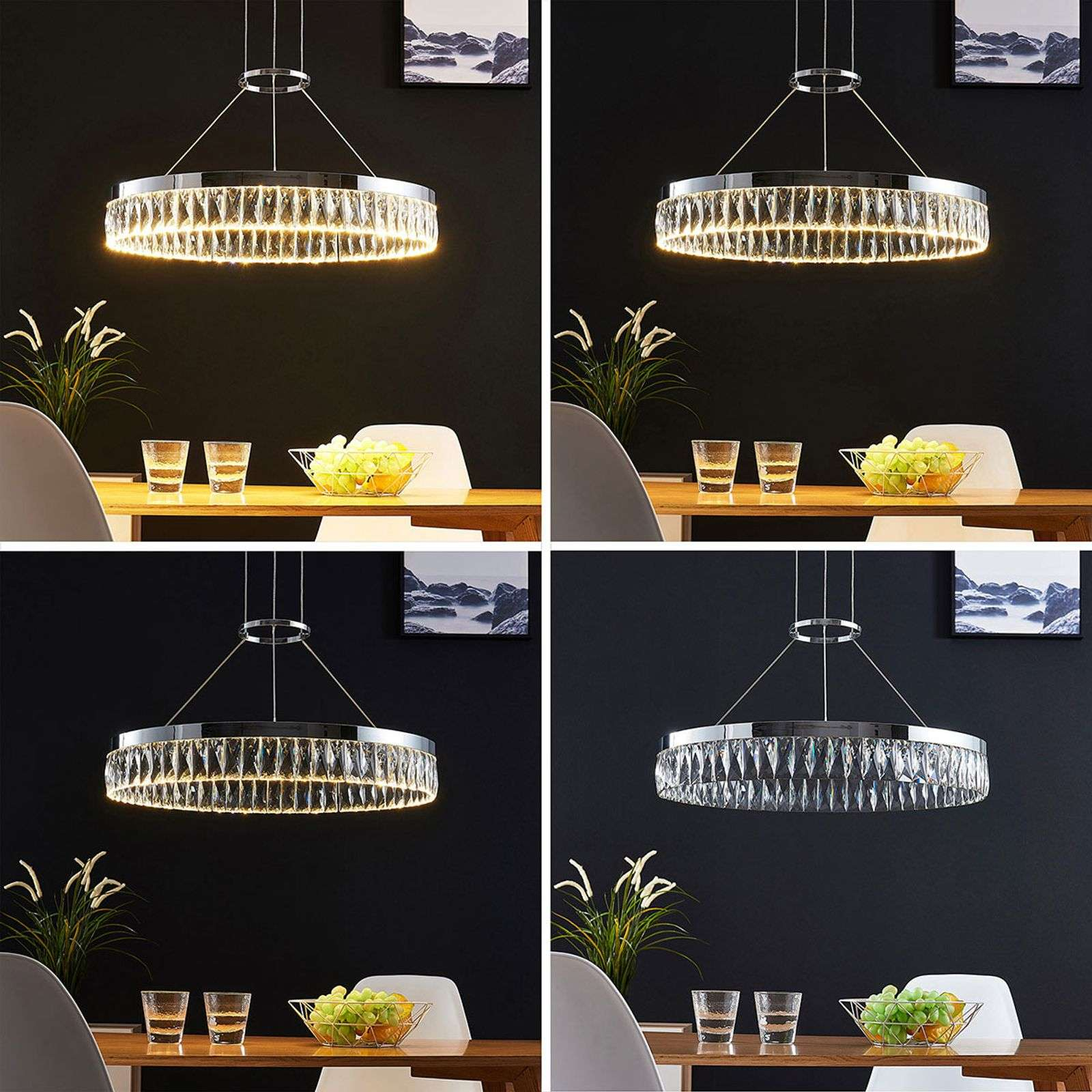 Suspension LED dimmable Carmi avec cristal