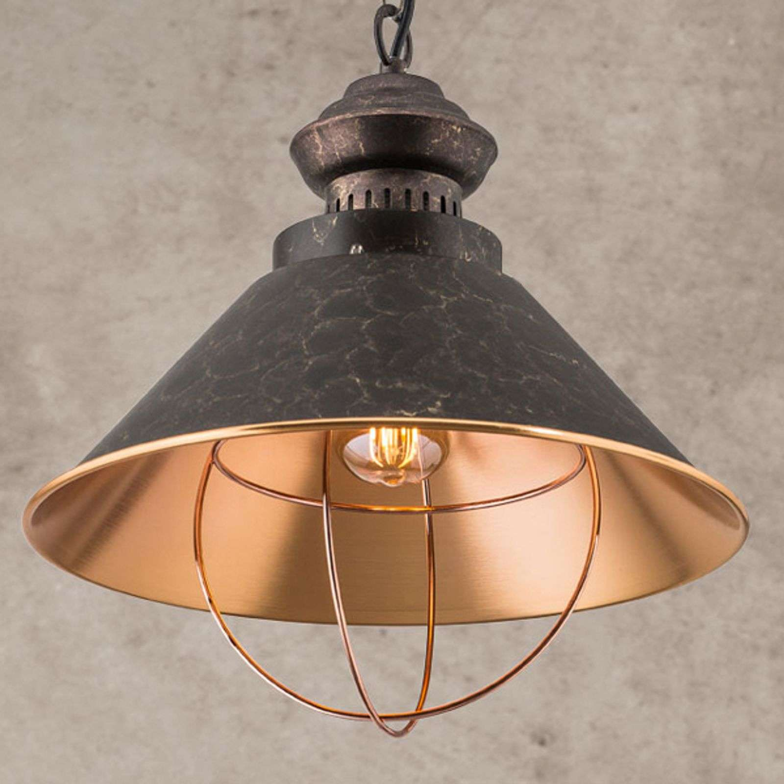 Suspension rustique Shanta, à une lampe
