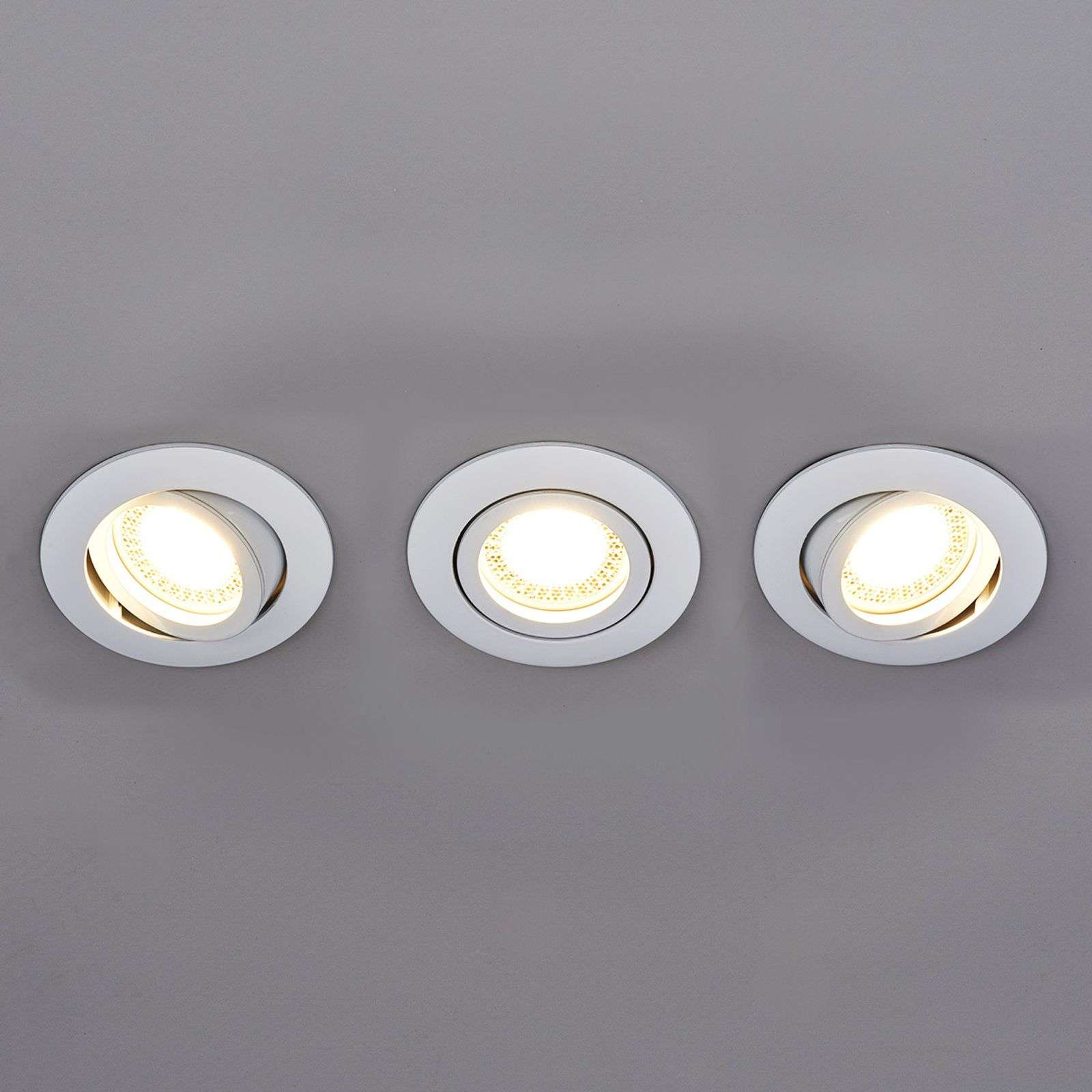 Set de 3 spots encastrés LED Lisara ronds blancs